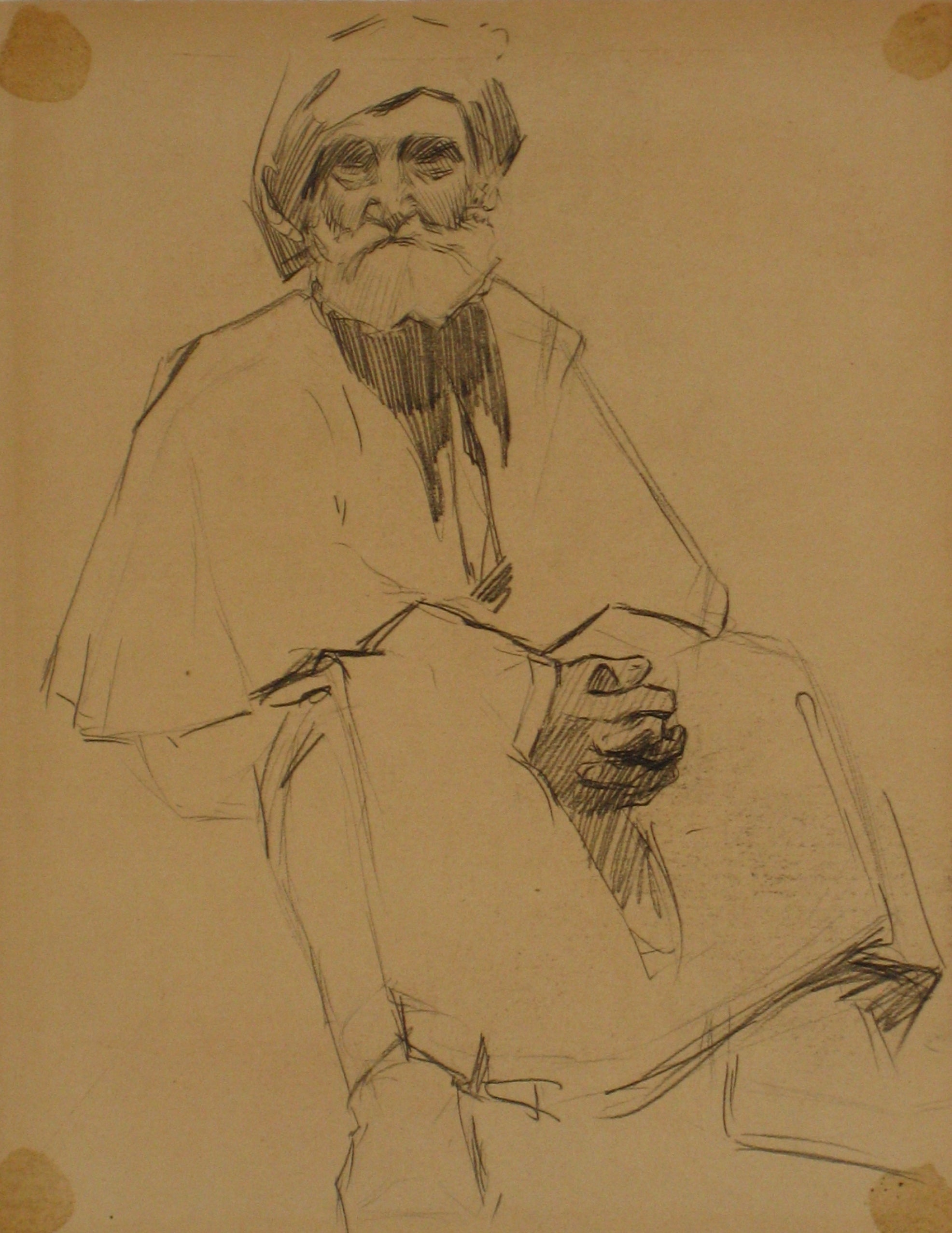 Older Parisian Man<br>Charcoal, 1900s<br><br>#4988