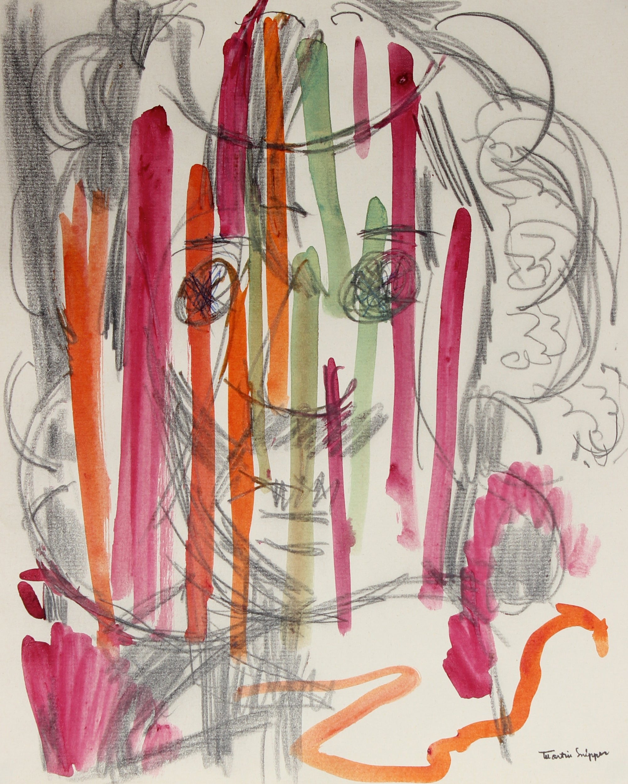 Monochromatic Portrait Abstracted By Color <br>Mid Century Graphite & Watercolor <br><br>#49893