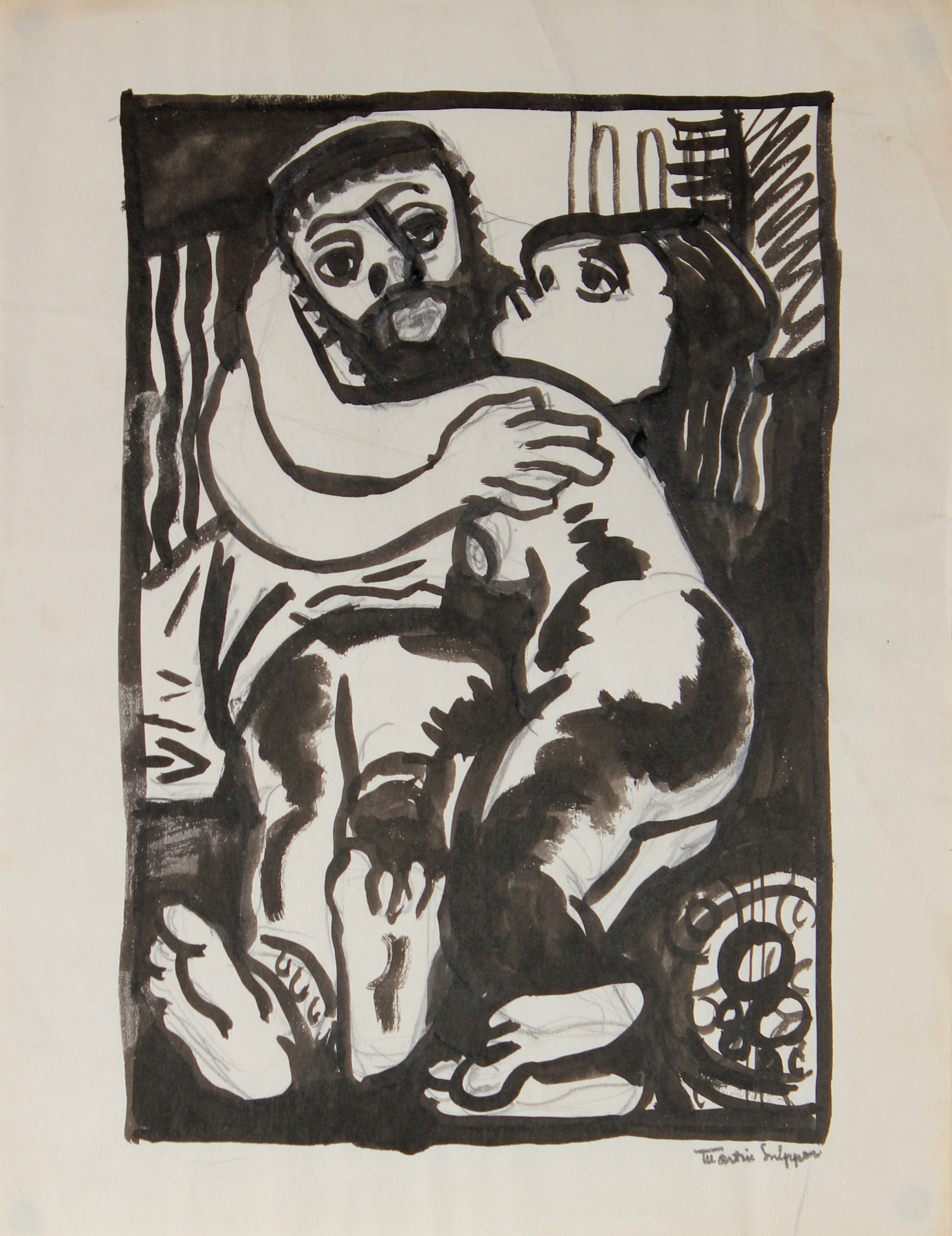 Two Embracing Figures <br>Mid Century Ink & Graphite<br><br>#49951