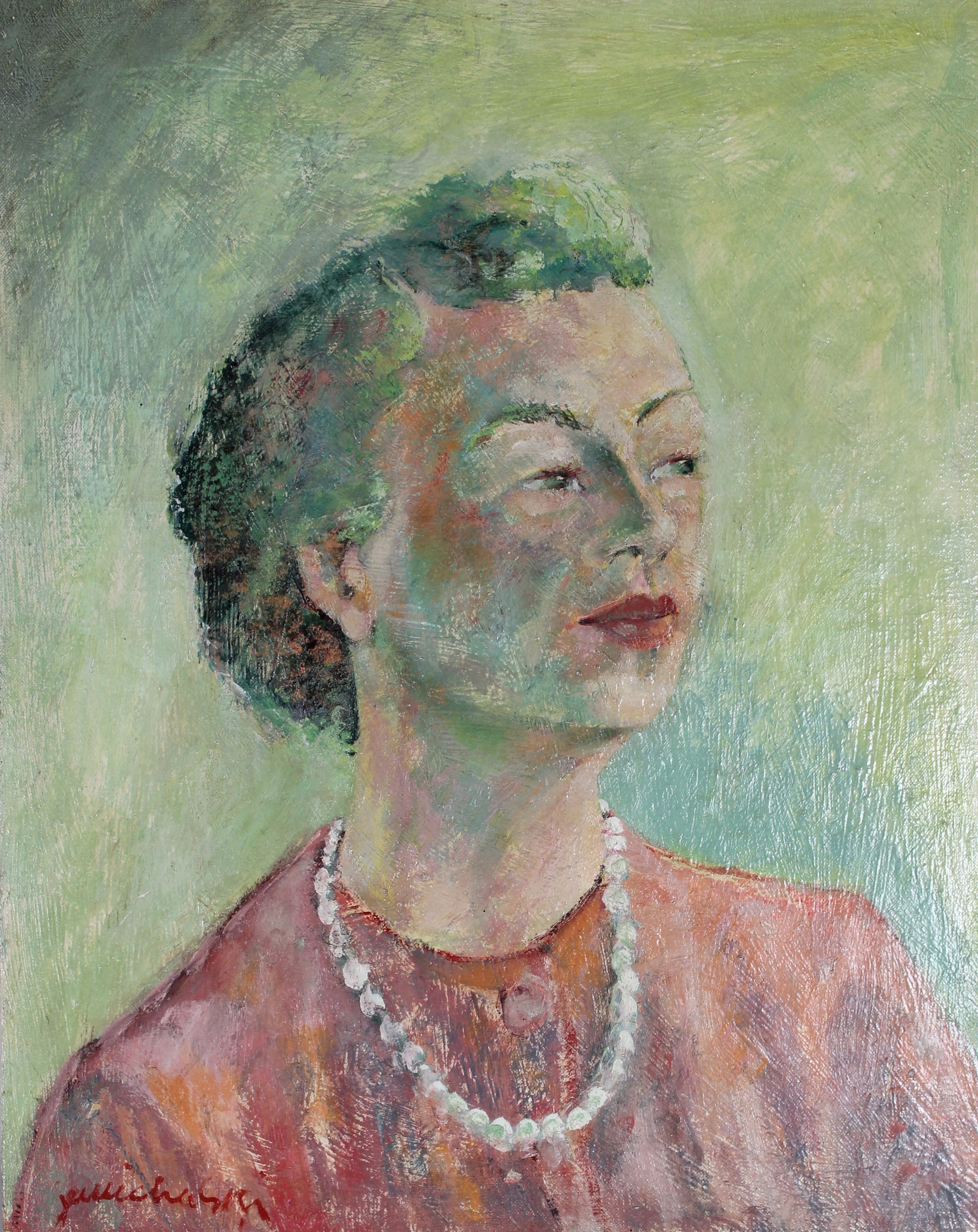 Portrait of a Woman in Pearls <br>20th Century Oil <br><br>#50123