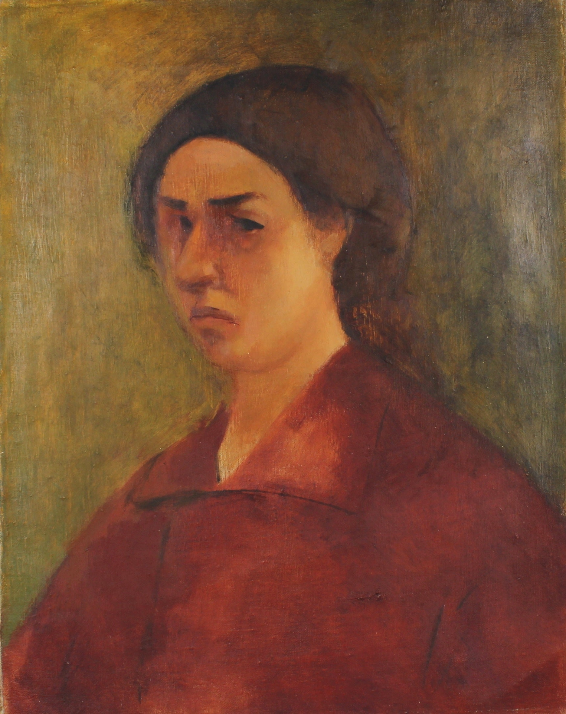 Suede Color Portrait of Ethel Weiner <br>1930s Oil<br><br>#50205