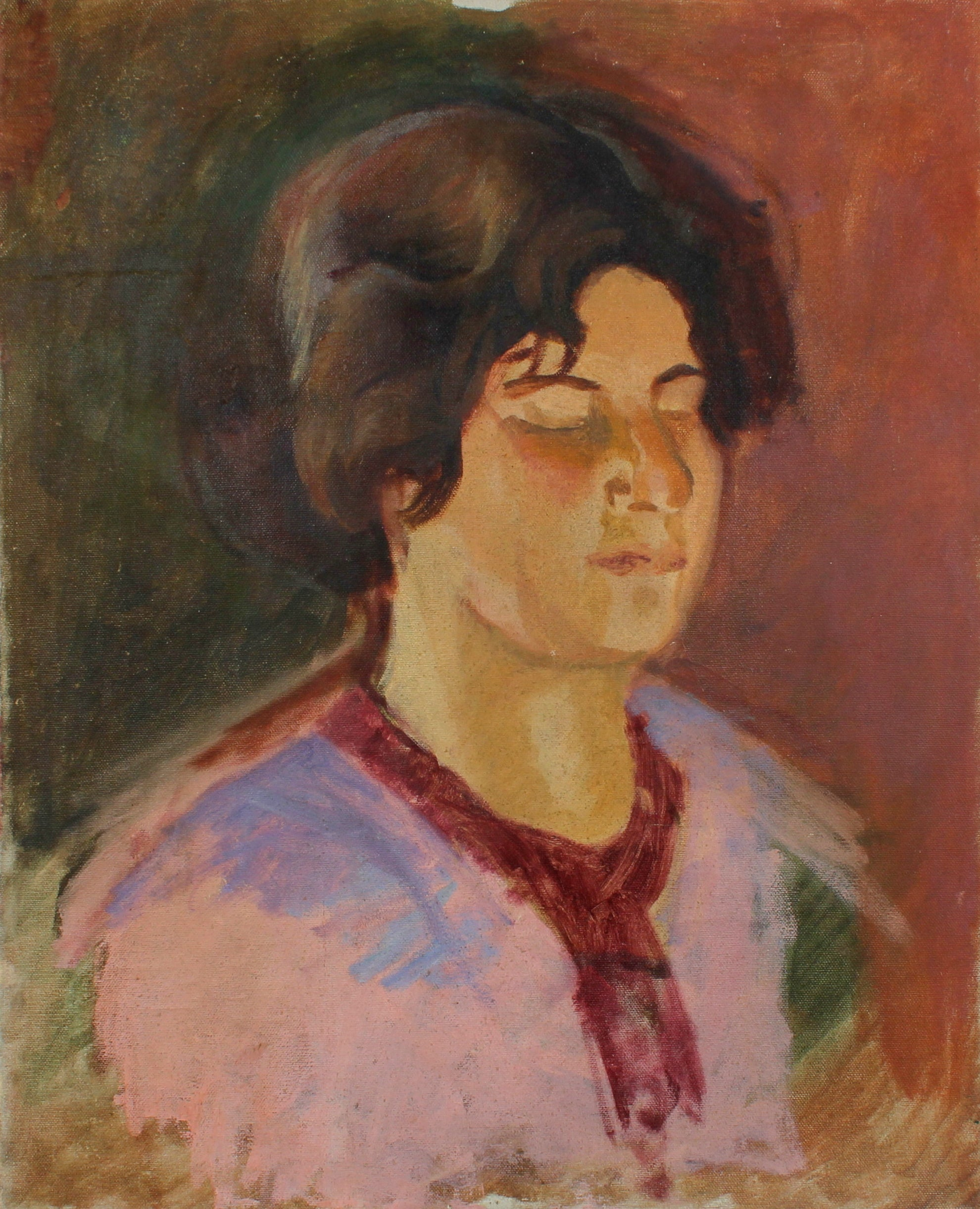 Colorful Portrait of Ethel Weiner in Pink <br>1930s Oil<br><br>#50207