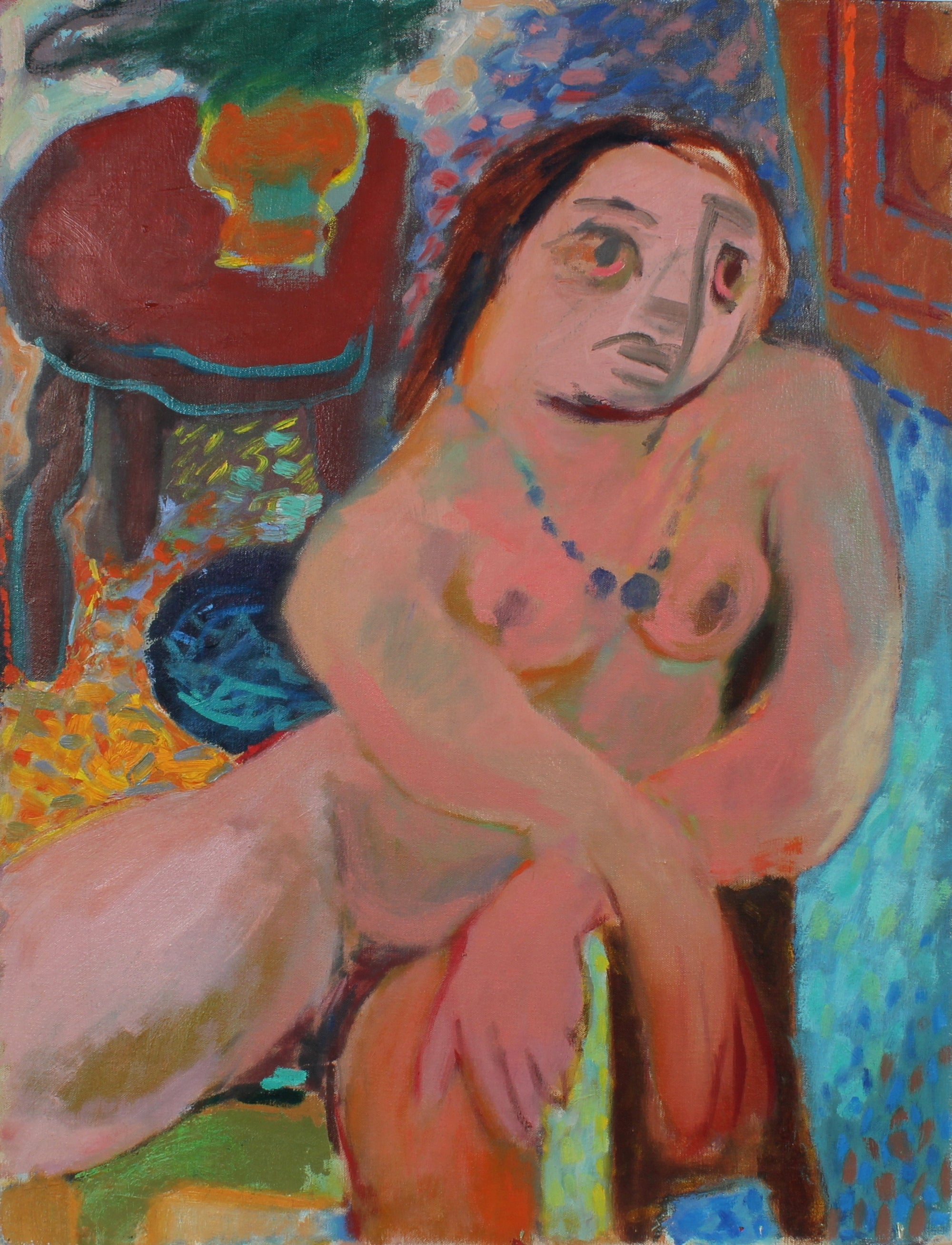 Mid Century Expressionist Nude <br>1940s Oil <br><br>#50215