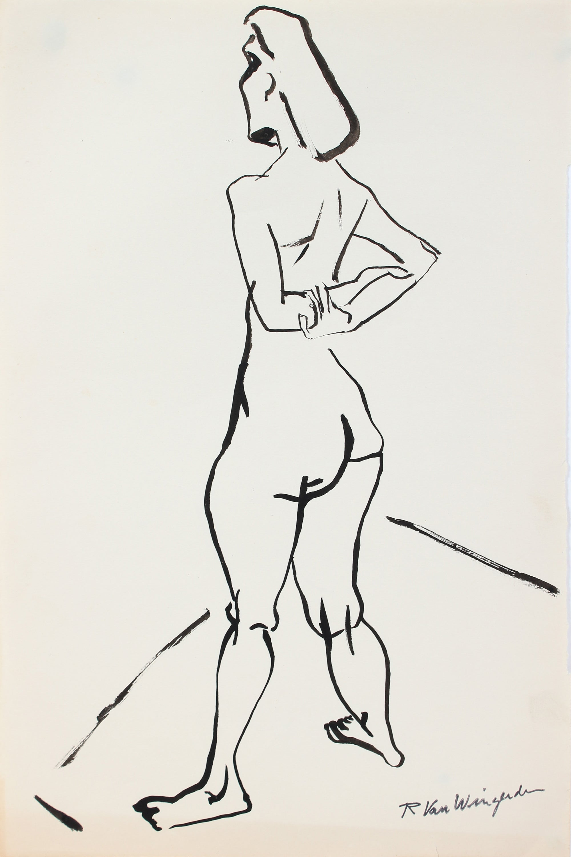 Arms Crossed - Expressionist Nude<br>1940-60s Ink<br><br>#4507