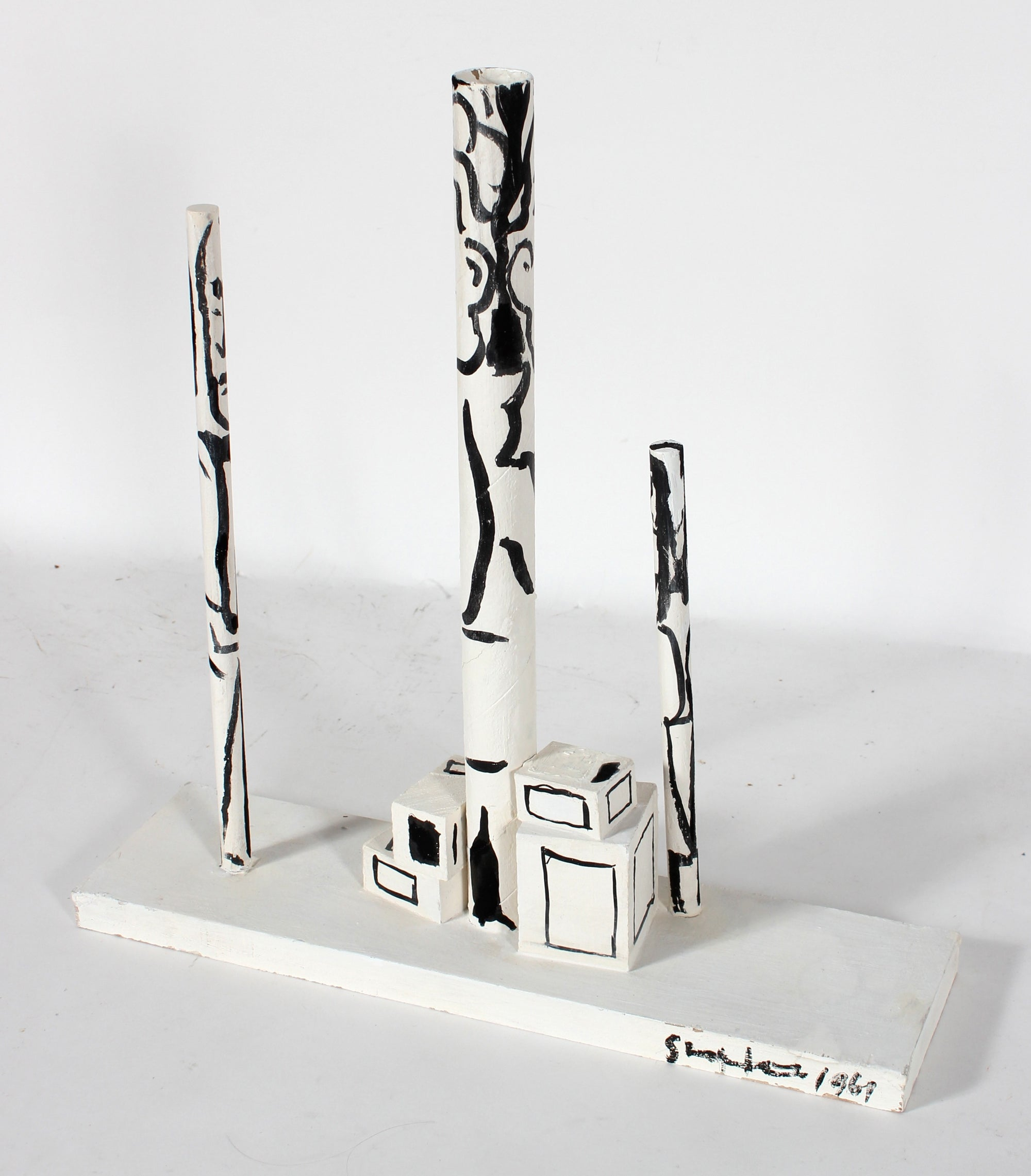 Modernist Monochrome Sculpture<br>1969 Gouache on Wood<br><br>#50838