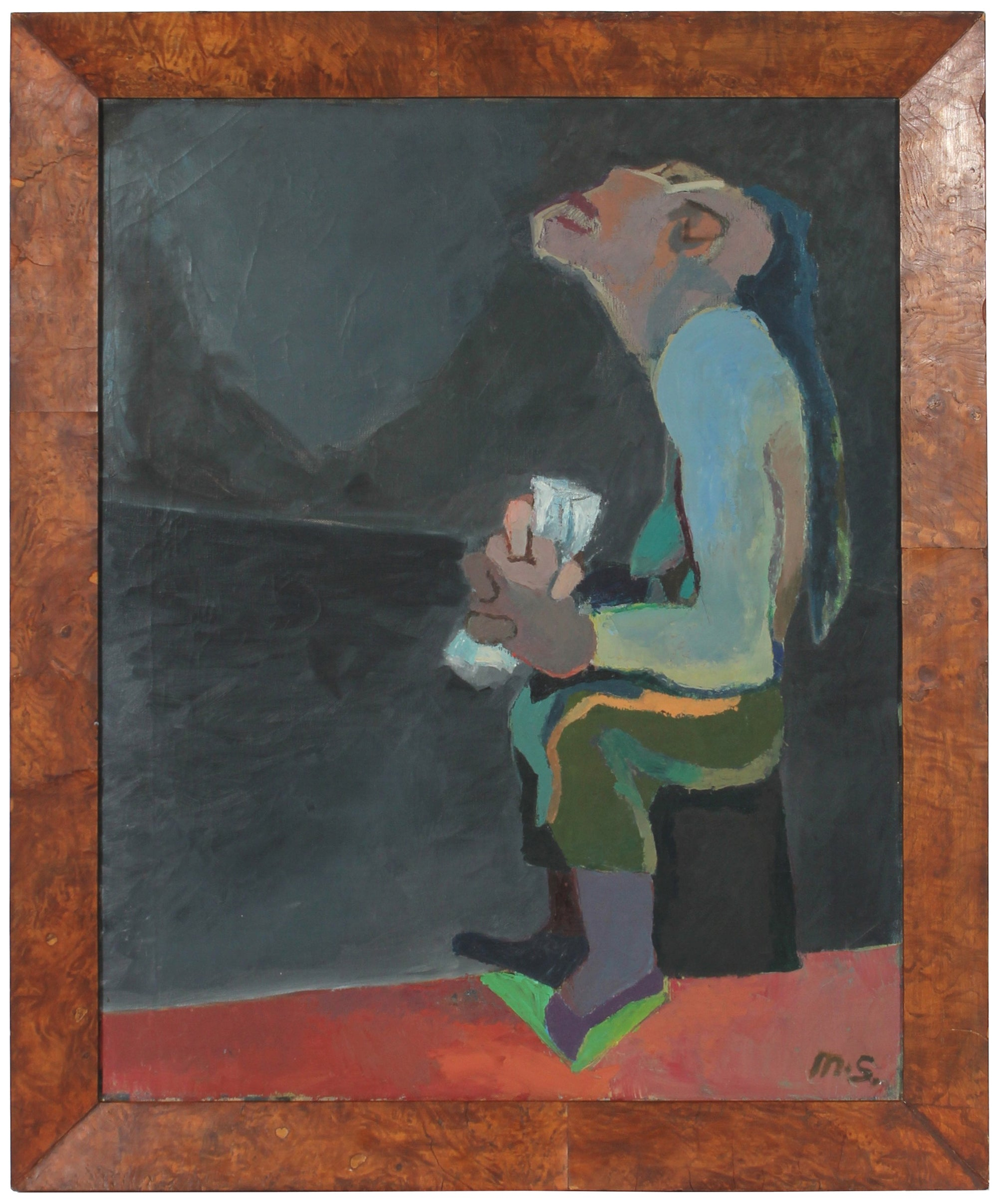 Expressionist Man<br>Late 1940s Oil<br><br>#50854