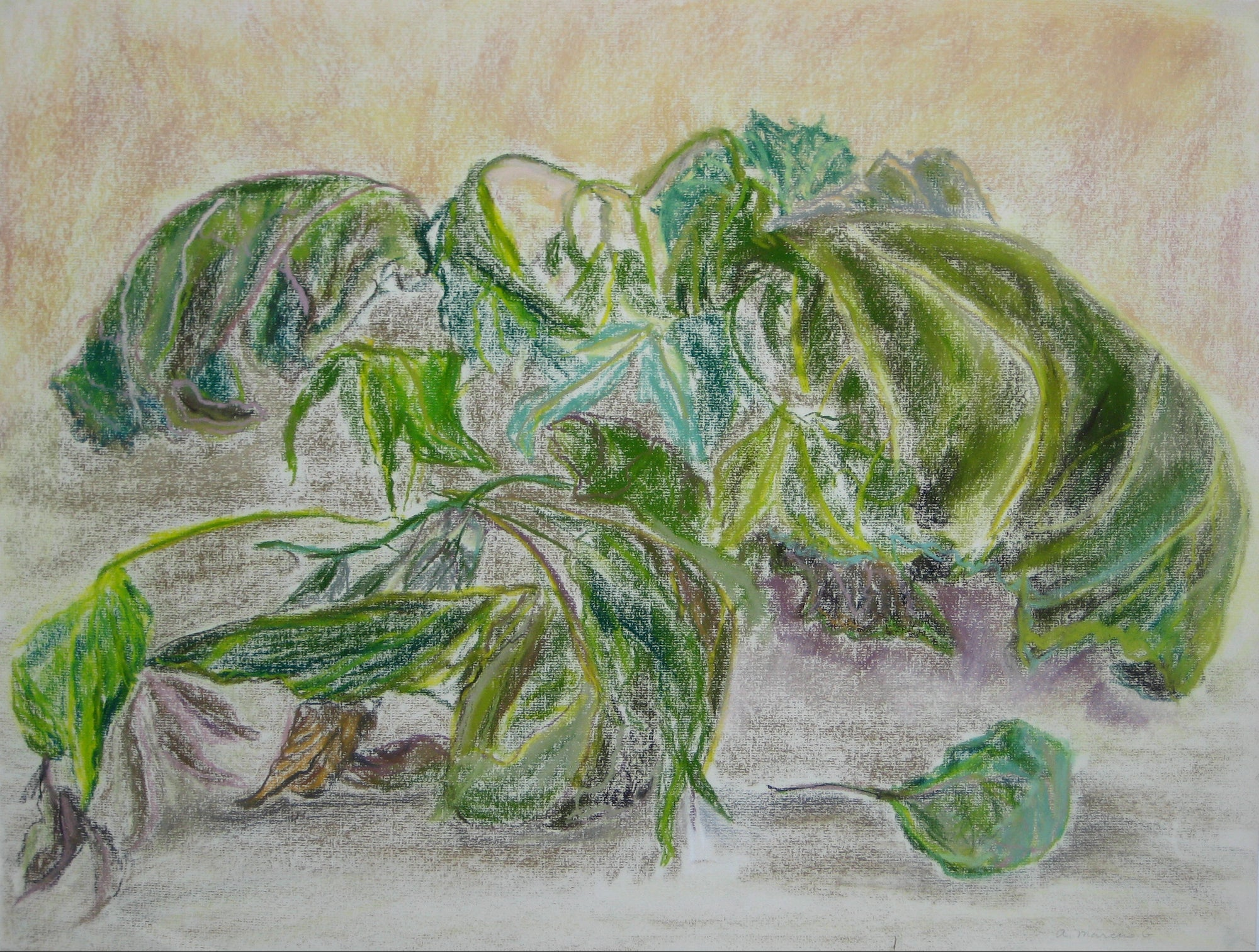 Leaves & Vines<br>Pastel, 1950-60s<br><br>#15108