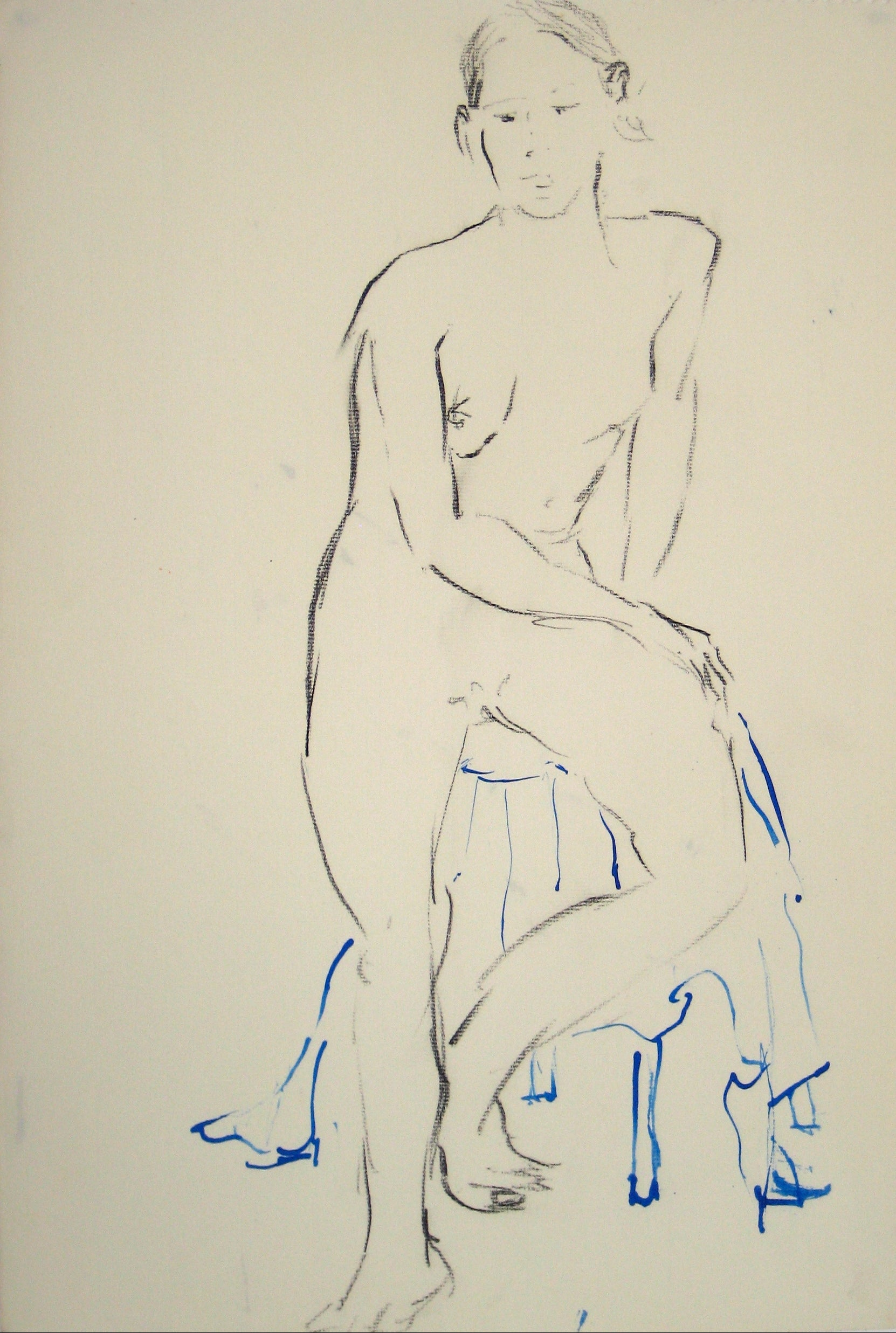 Seated Nude Study<br>Oil Pastel & Ink<br><br>#15142