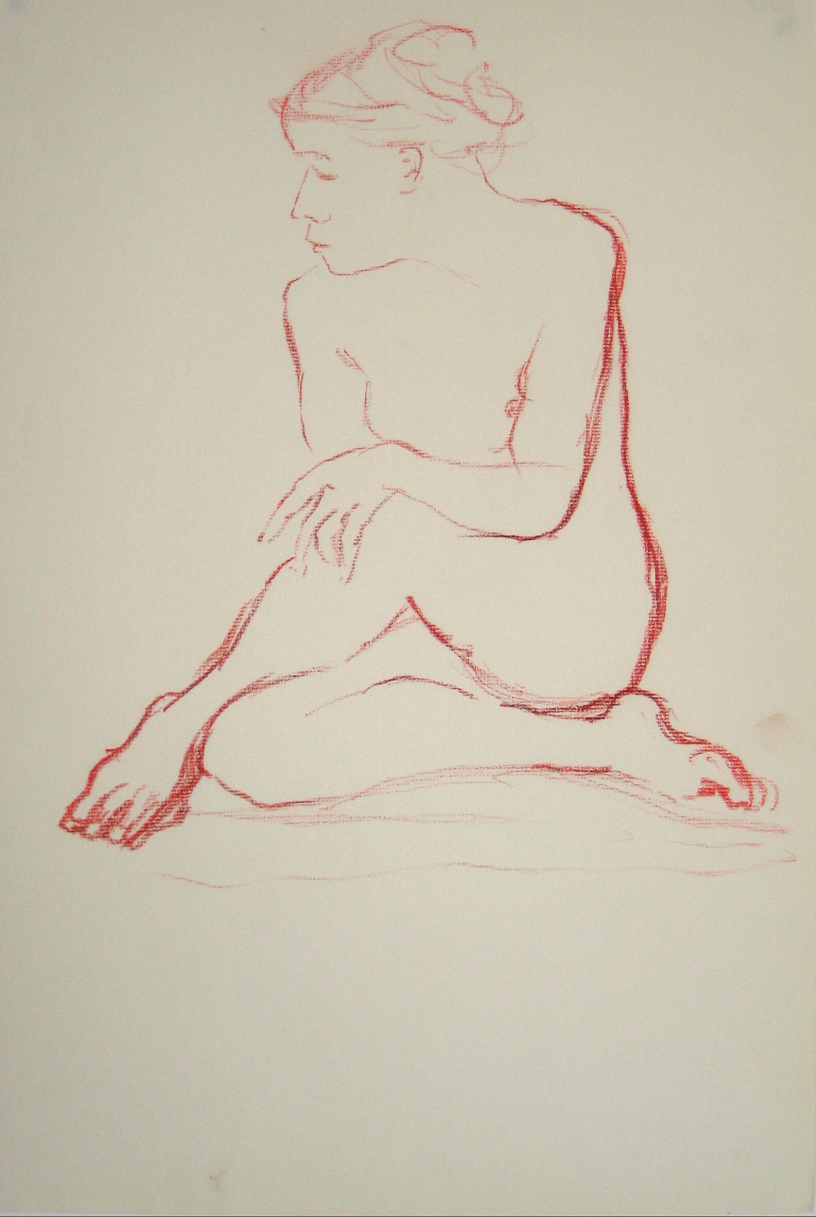 Nude in Contemplation<br>Oil Pastel, 1950-60s<br><br>#15143