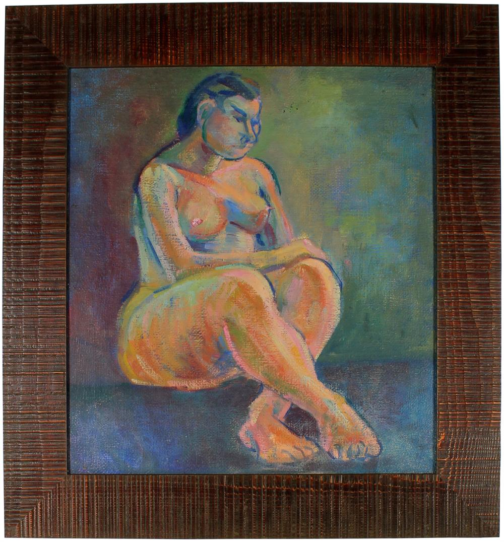 Colorful Expressionist Nude<br>1940s Oil<br><br>#51848