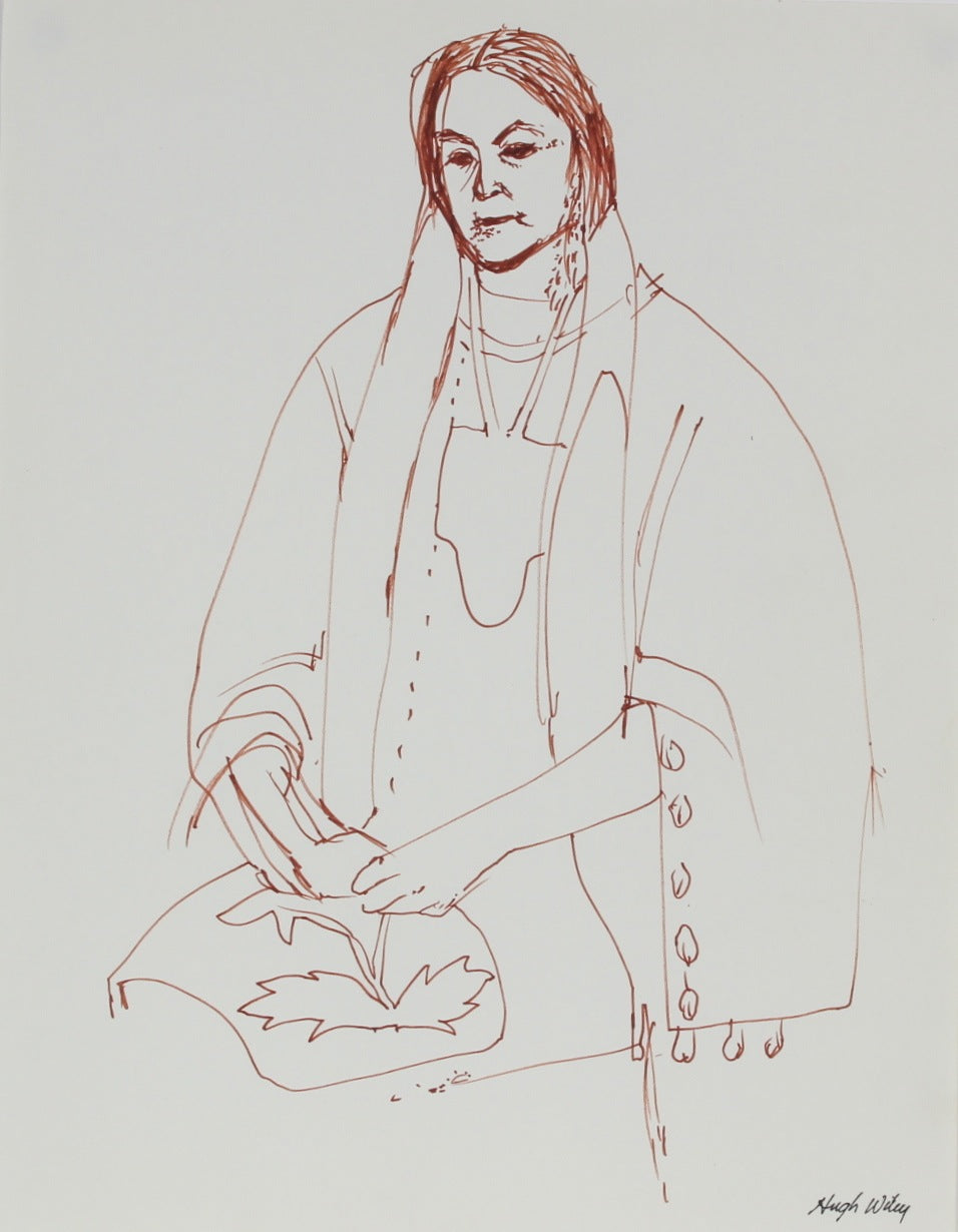 Seated Native American Woman<br>1974 Ink<br><br>#52141