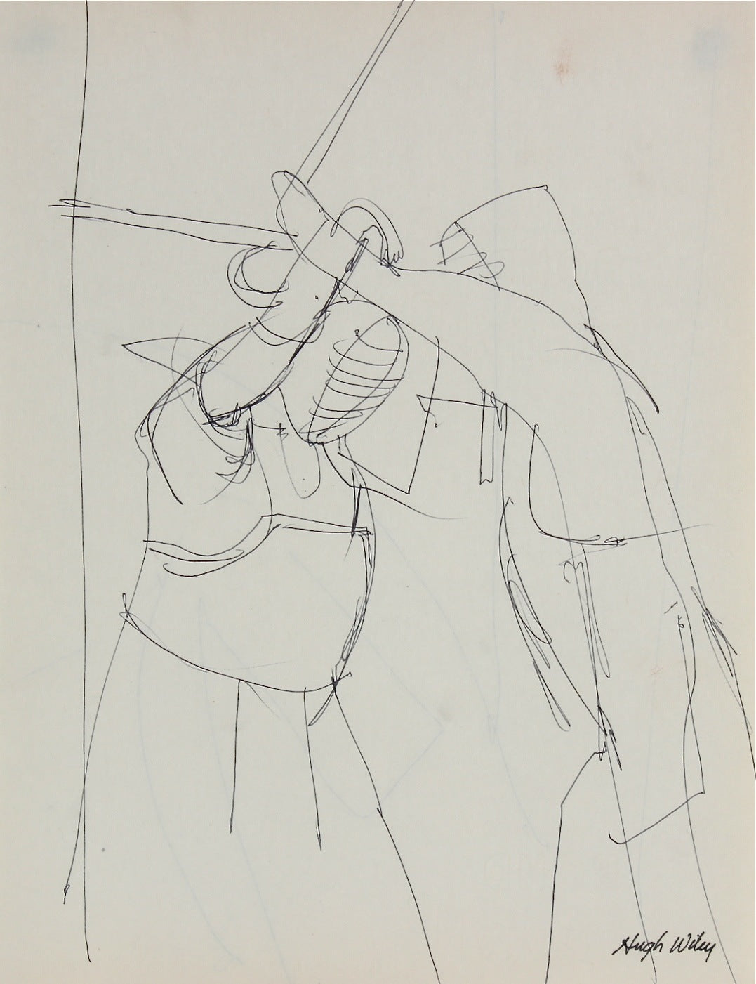 Fencing Pair in Motion<br>1966 Ink<br><br>#52158