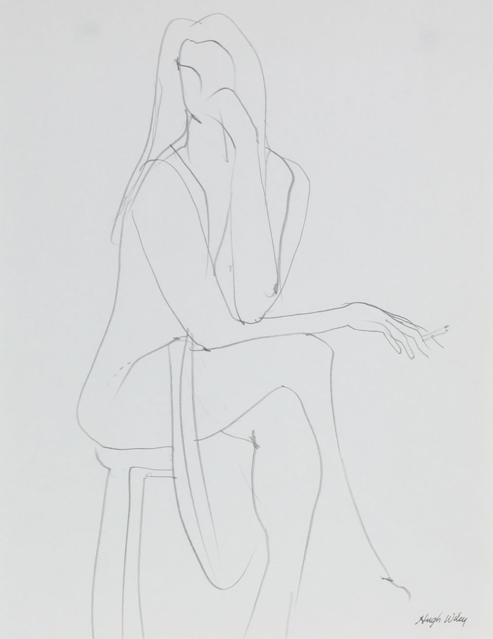 Seated Woman Smoking <br>1974 Graphite <br><br>#52169