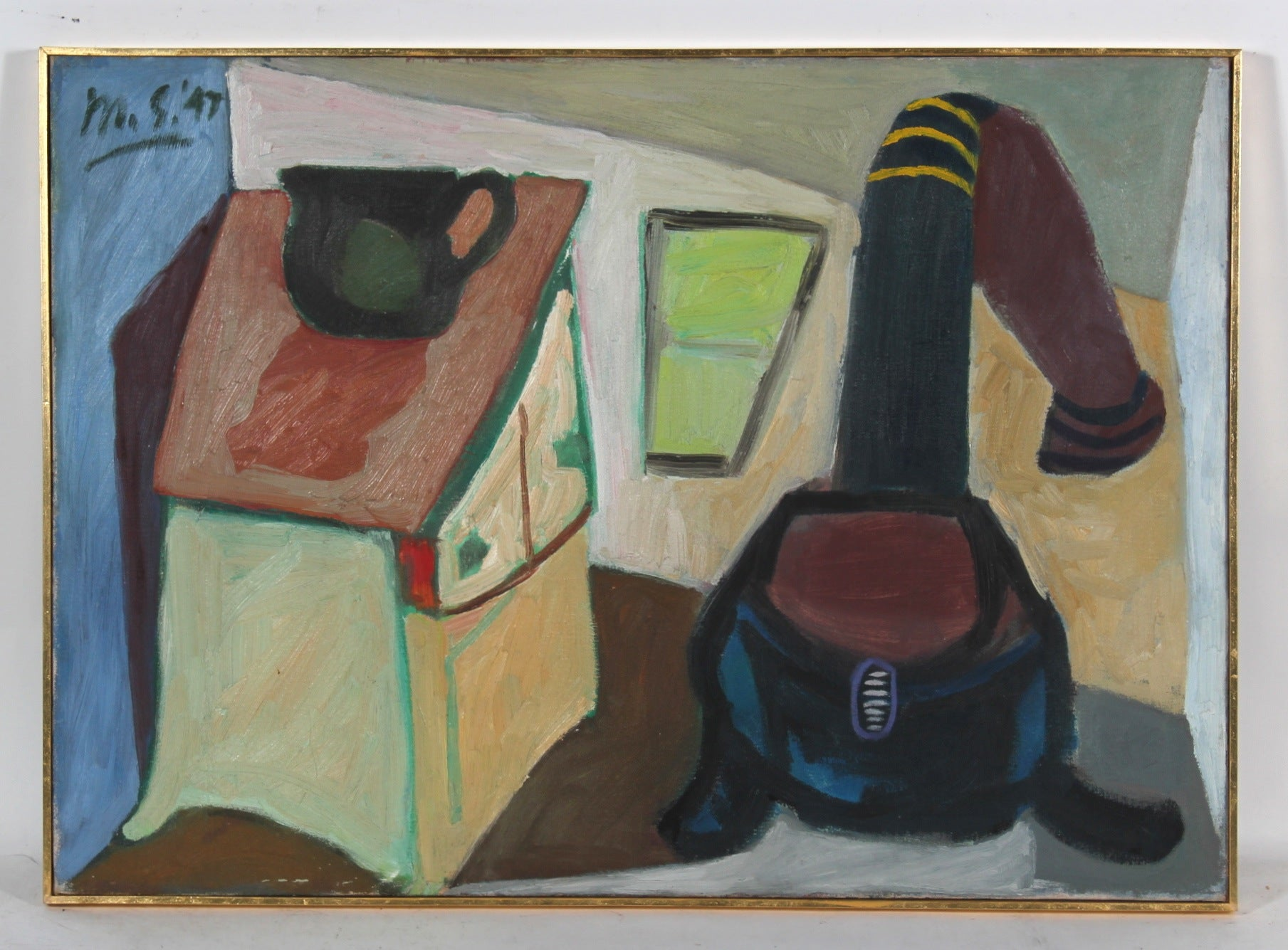 Cubist Kitchen Scene with Stove<br>1947 Oil<br><br>#52322