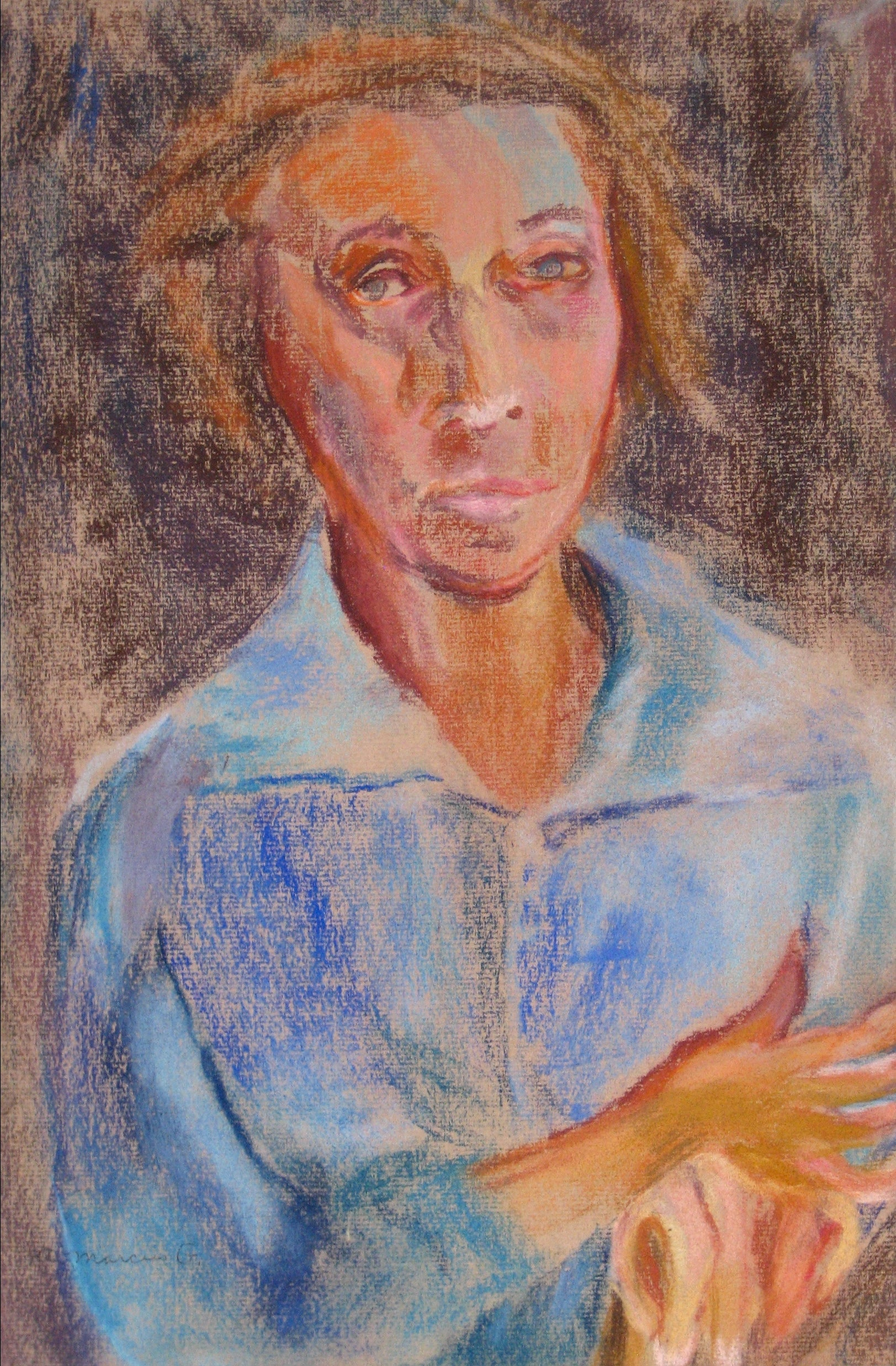 <i>Portrait of a Lady (Blue Shirt)</i><br>Pastel, 1950-60s<br><br>#15279