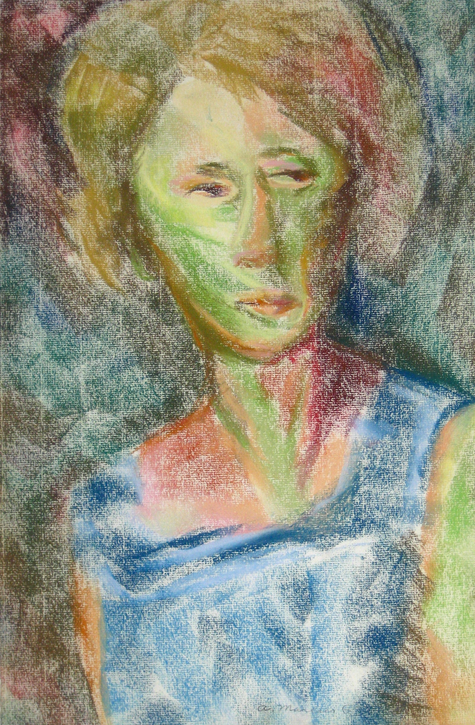 <i>Portrait of a Lady (Blue Dress)</i><br>Pastel, 1964<br><br>#15281