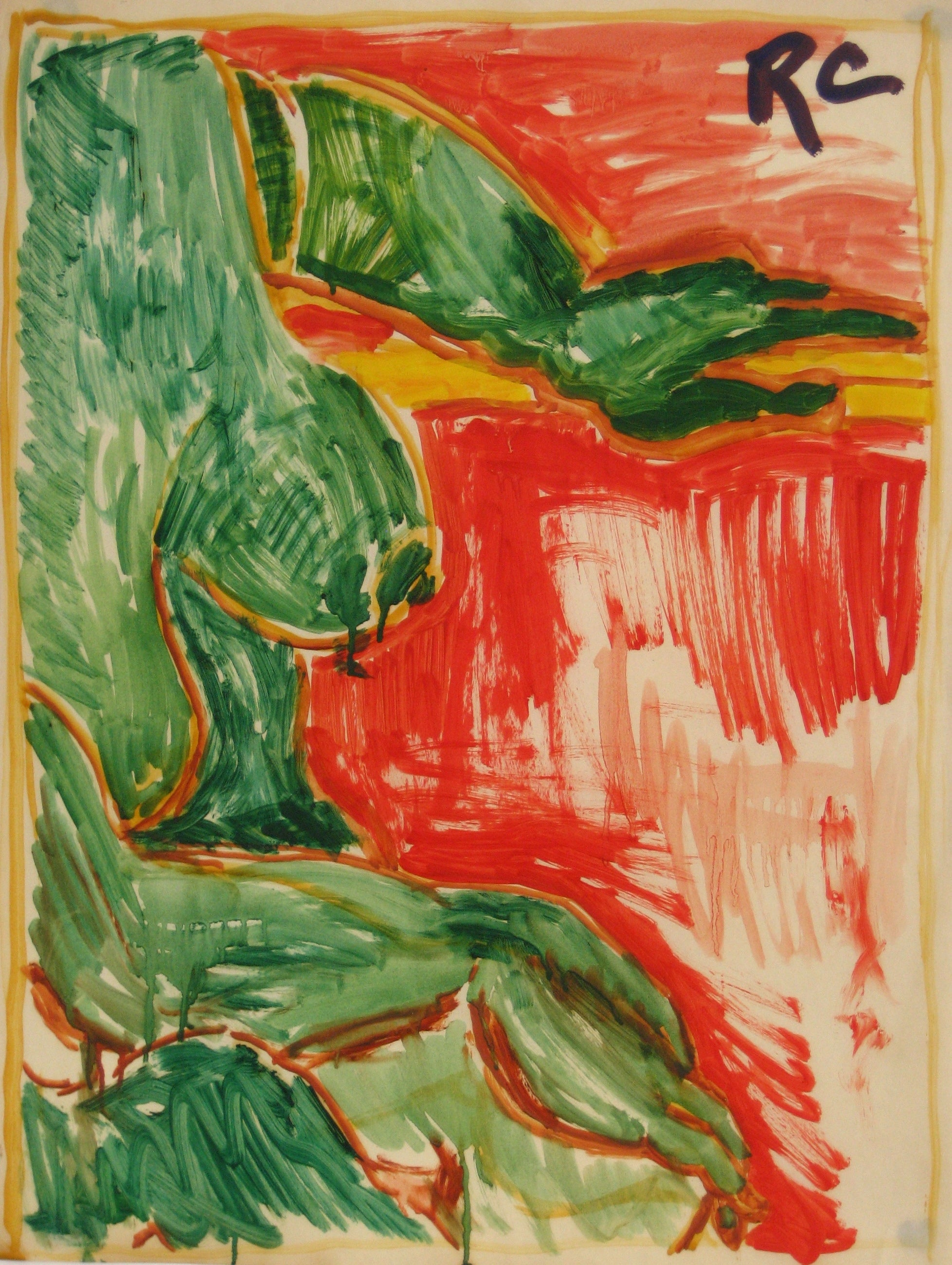 Abstracted Figure Study in Red & Green<br>Mid Century Oil<br><br>#5373