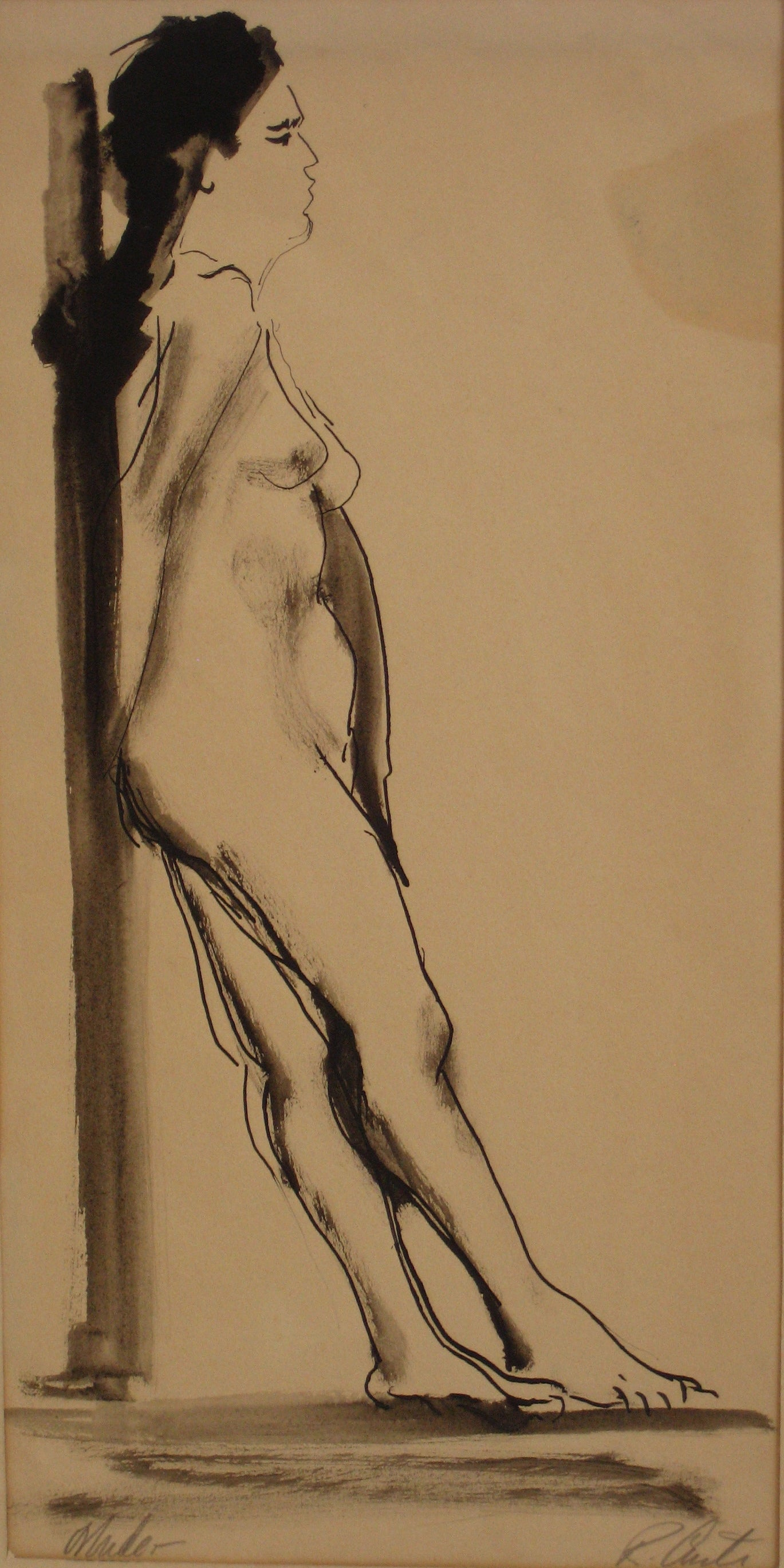 Leaning Female Nude<br>Mid Century Mixed Media<br><br>#5375