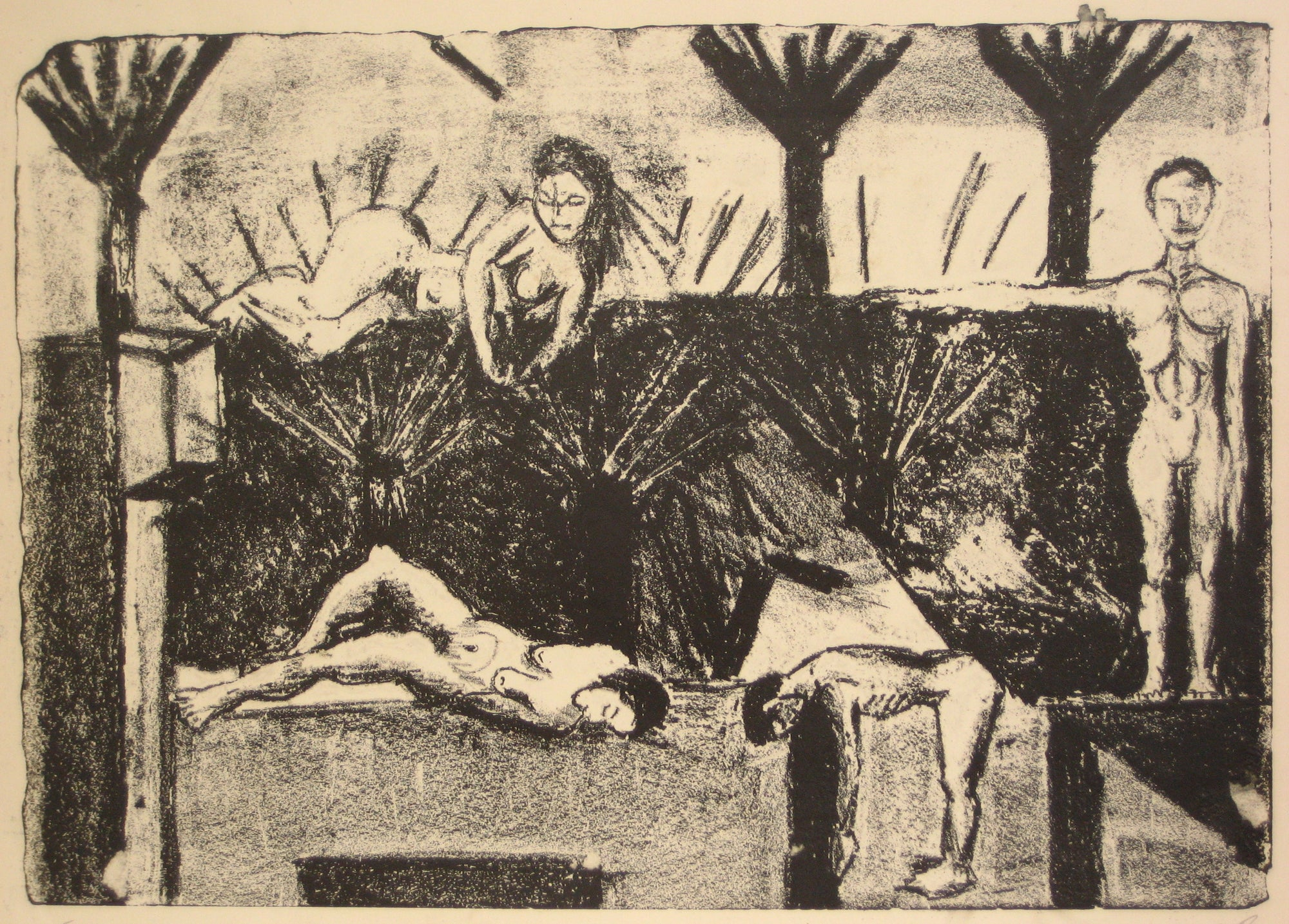 <i>Four Figures</i><br>1940-70s Lithograph<br><br>#5387