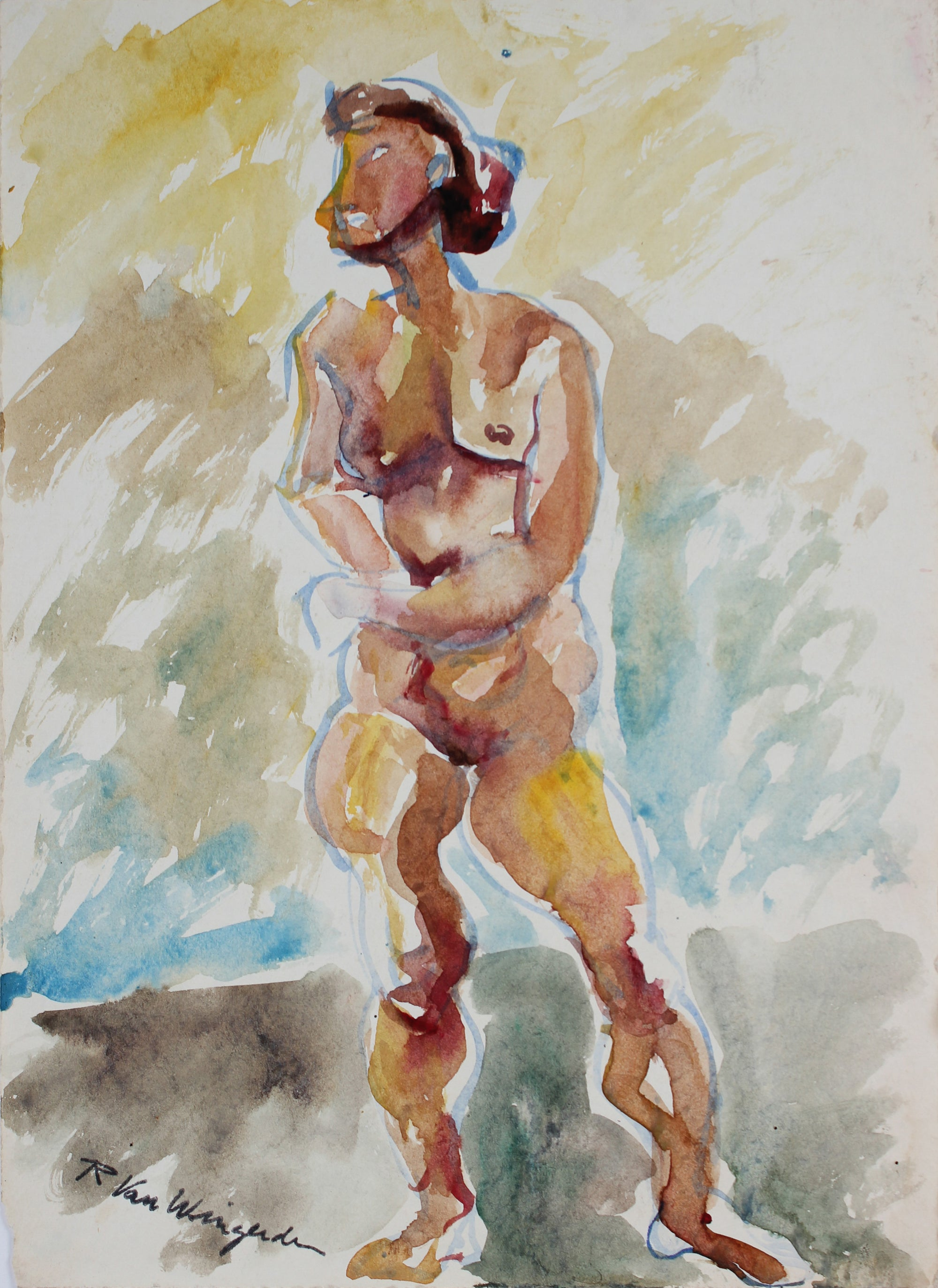 Expressionist Nude Figure<br>Mid 20th Century Watercolor<br><br>#5420