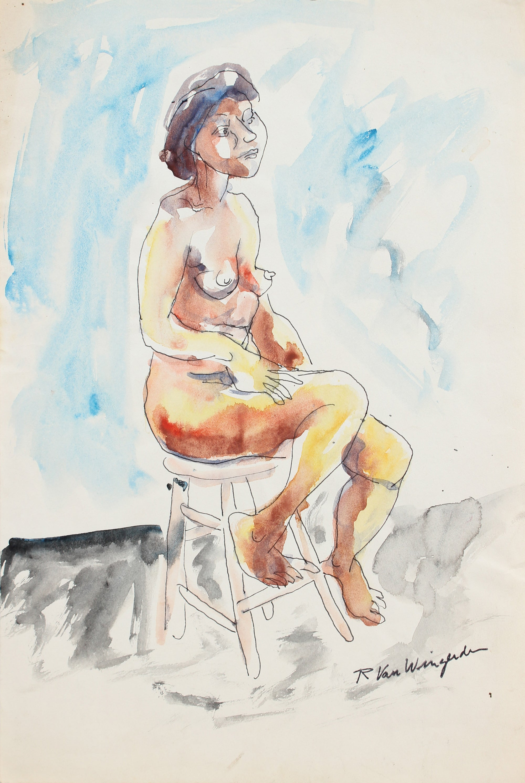 Expressionist Nude Figure<br>Mid 20th Century Watercolor<br><br>#5421