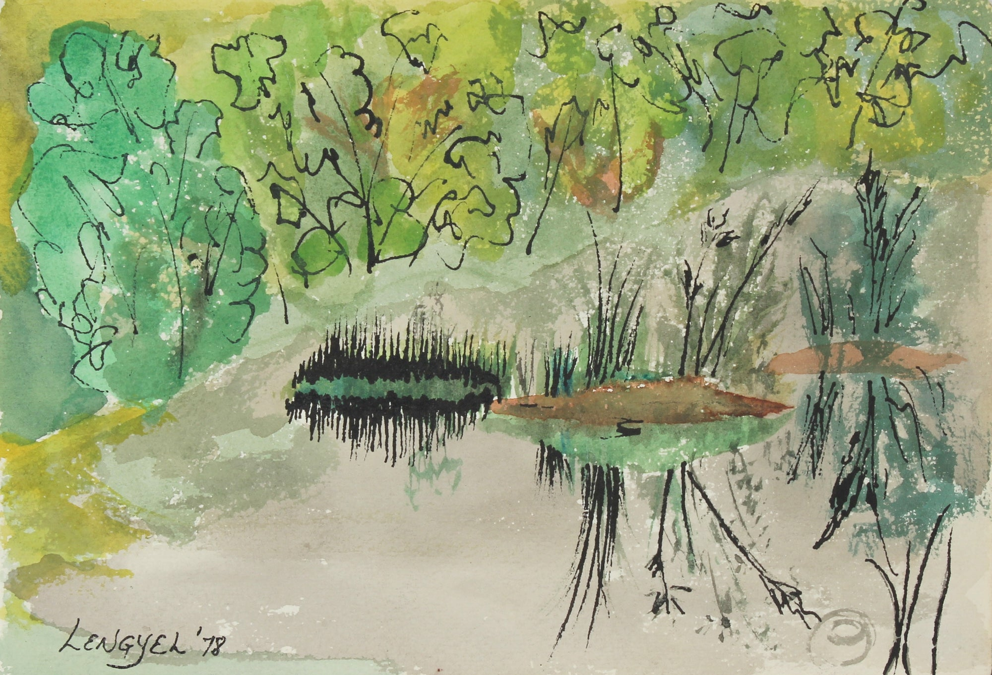 <i>Alaskan Pond</i><br>1978 Watercolor & Ink<br><br>#57175