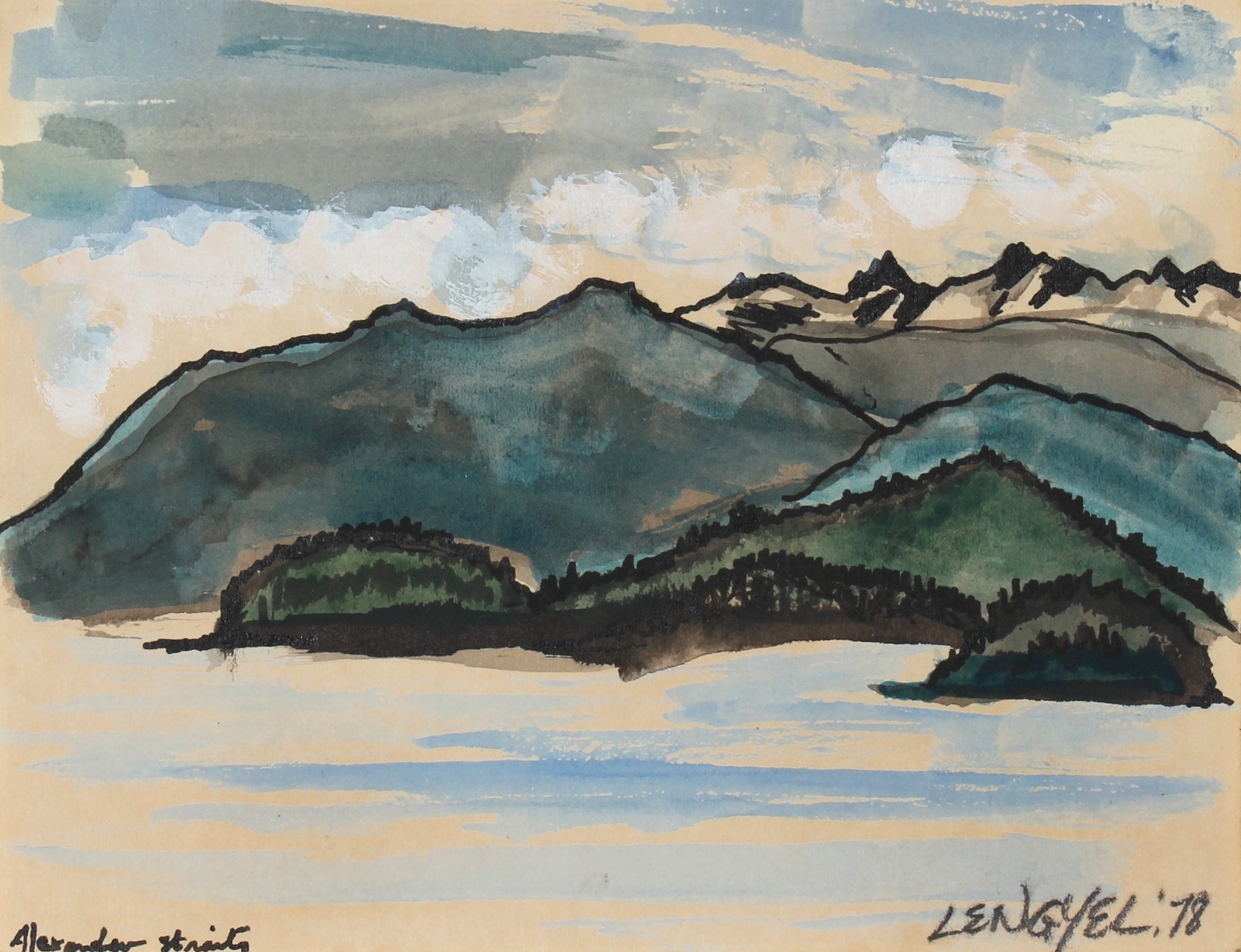<i>Alexander Straits</i>, Alaska<br>1978 Watercolor & Ink<br><br>#57181