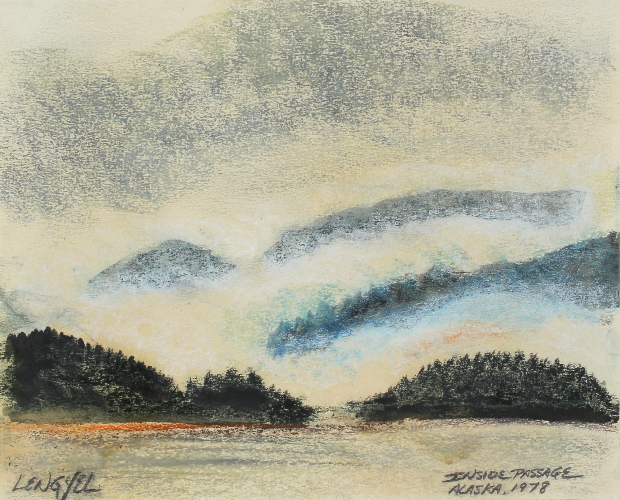 <i>Inside Passage, Alaska</i> <br>1978 Oil Pastel <br><br>#57208
