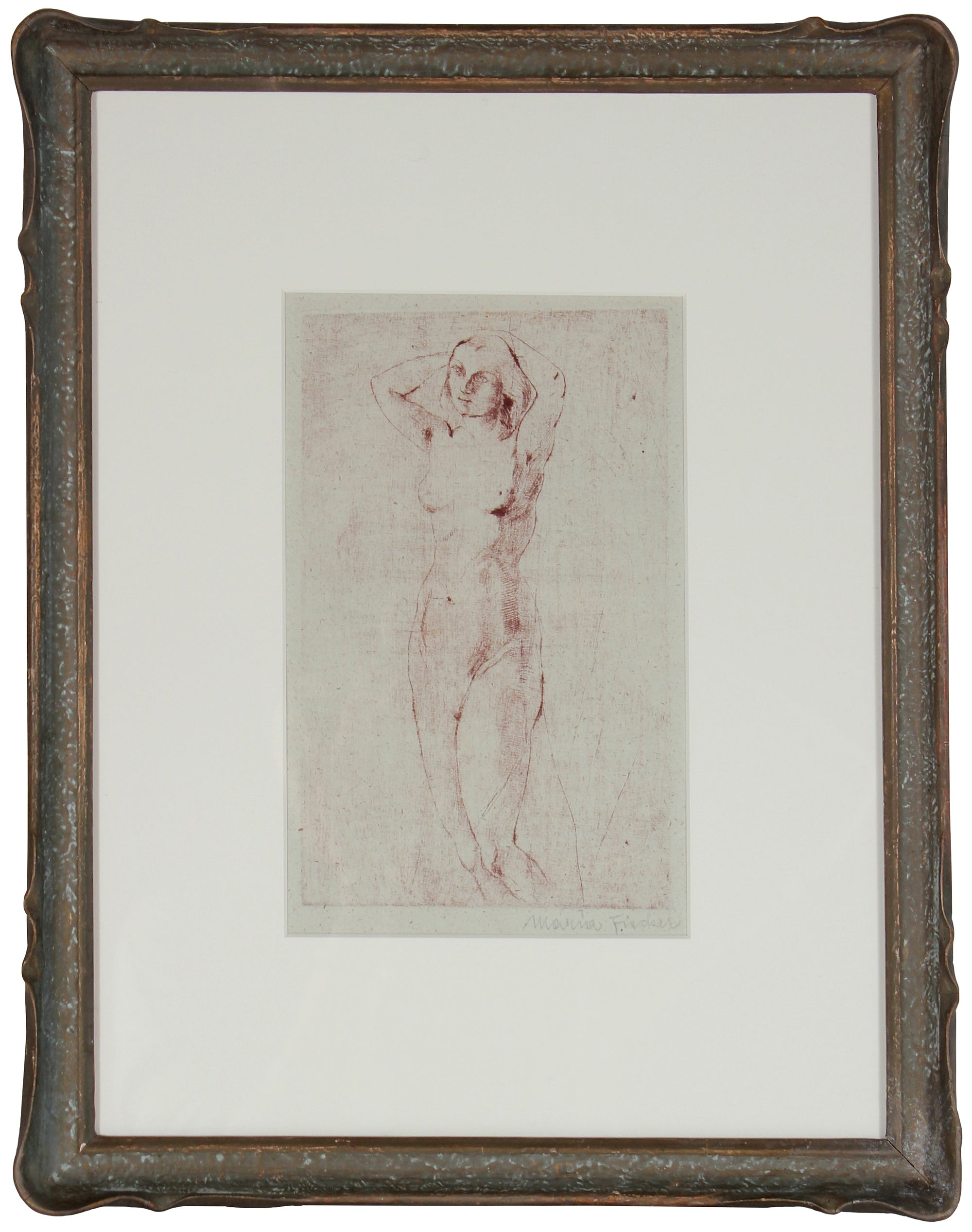 Reflective Standing Nude<br>1920s Etching<br><br>#71196