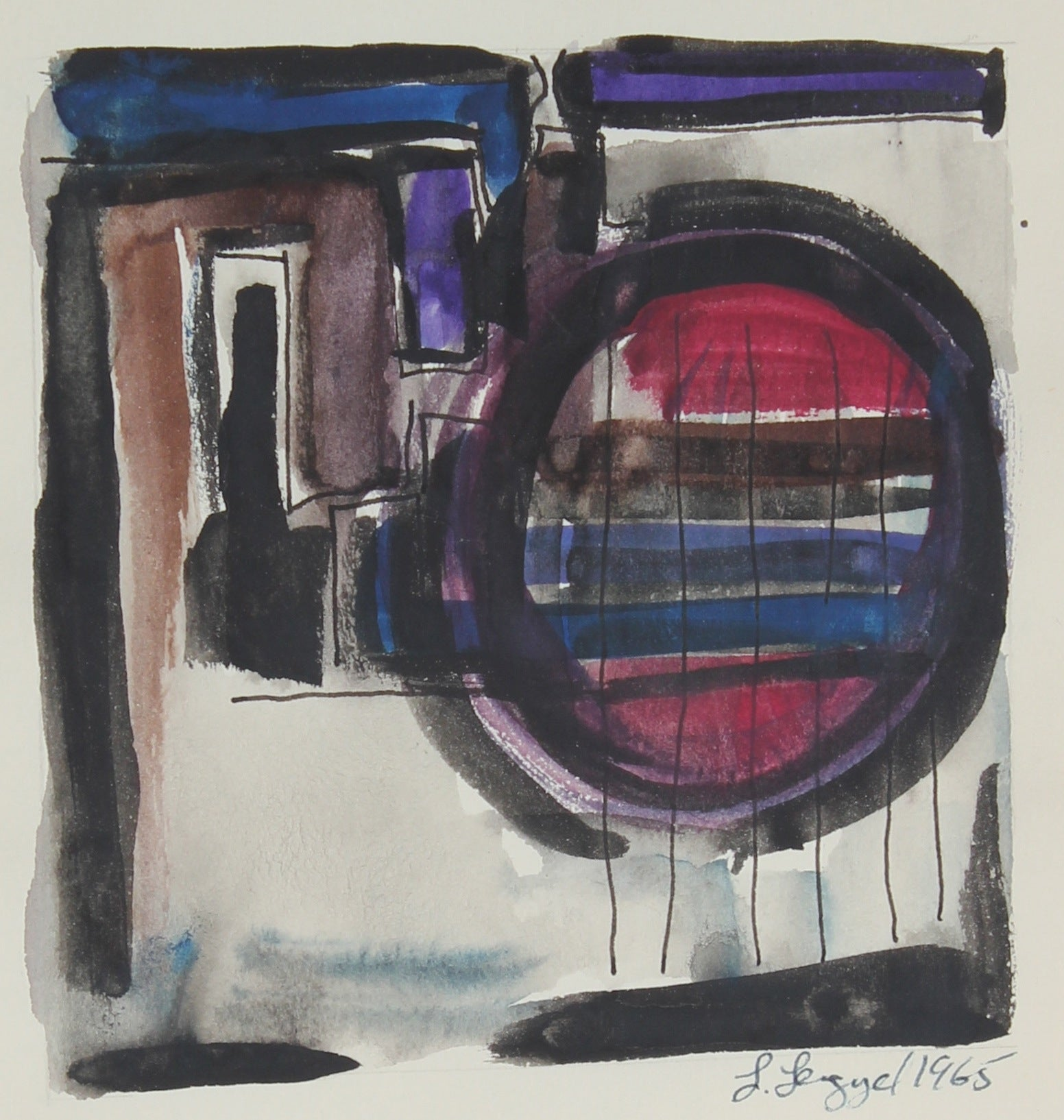 Abstracted Interior<br>1965 Gouache and Ink on Paper<br><br>#58273