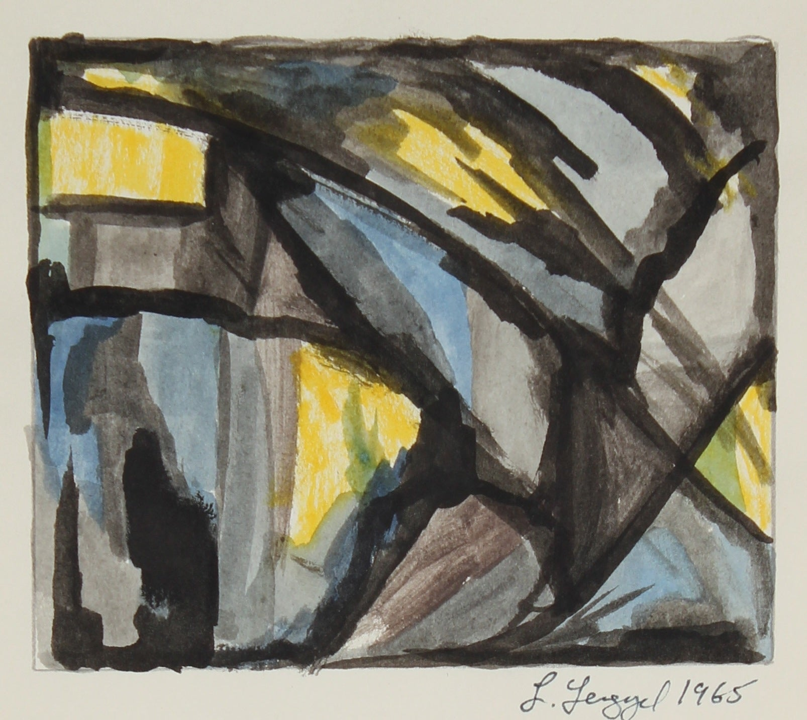 Geometric Abstract <br>1965 Gouache on Paper<br><br>#58275