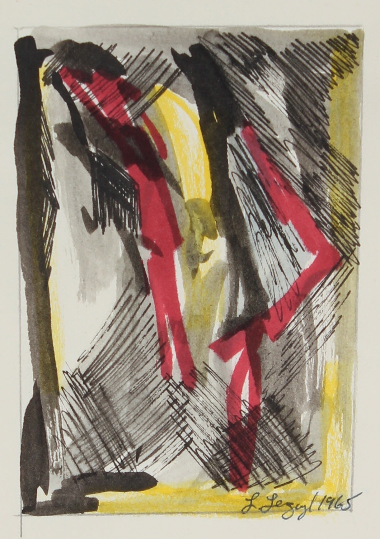 Yellow and Red Abstract <br><br> 1965 Ink and Gouache<br>#58277