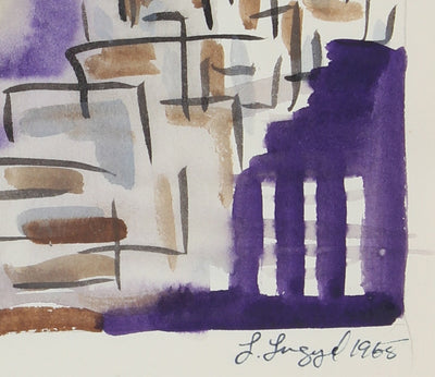Purple Abstracted Buildings<br>1965 Gouache<br><br>#58280
