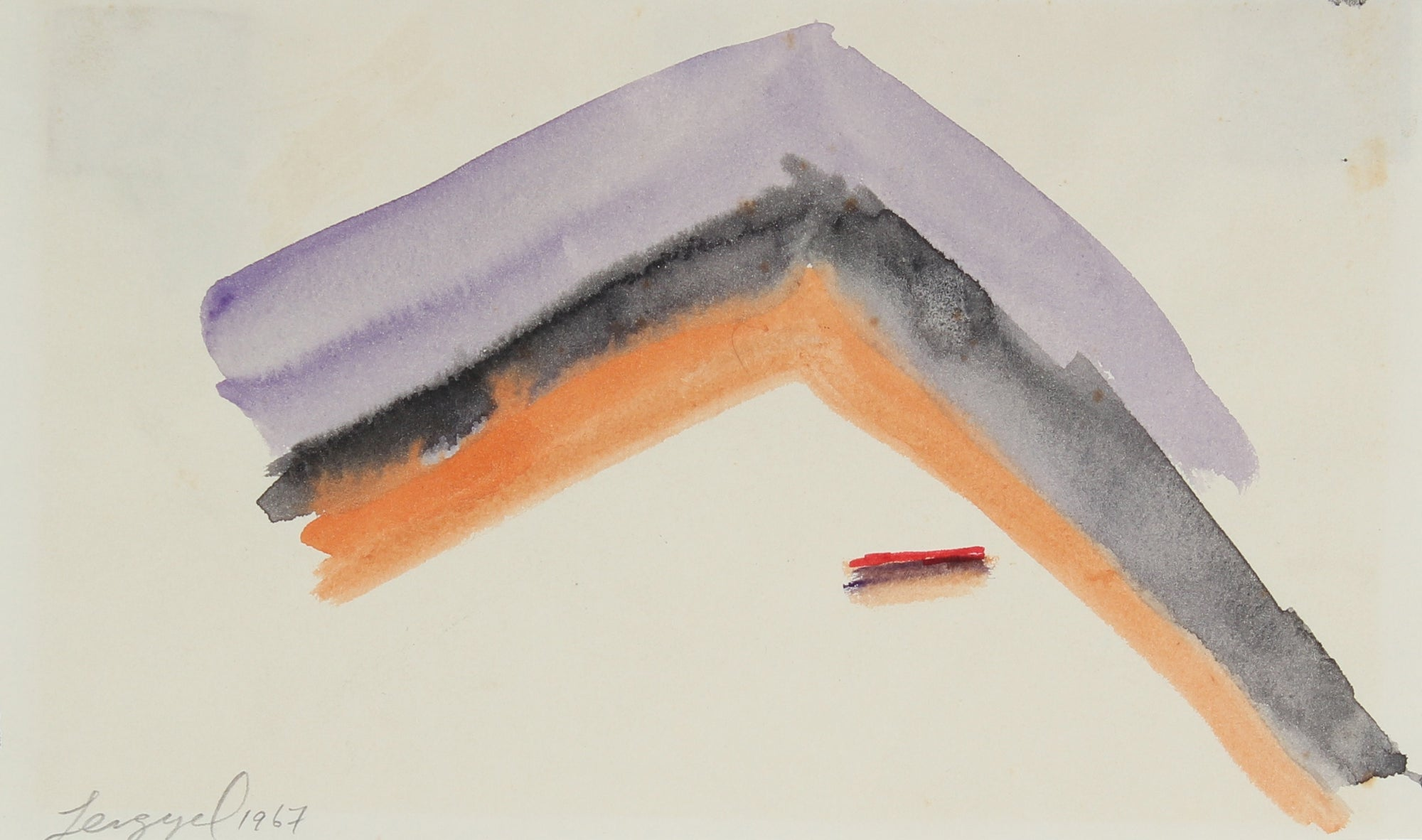 Purple and Orange Abstracted Hiller<br>1967 Gouache<br><br>#58292