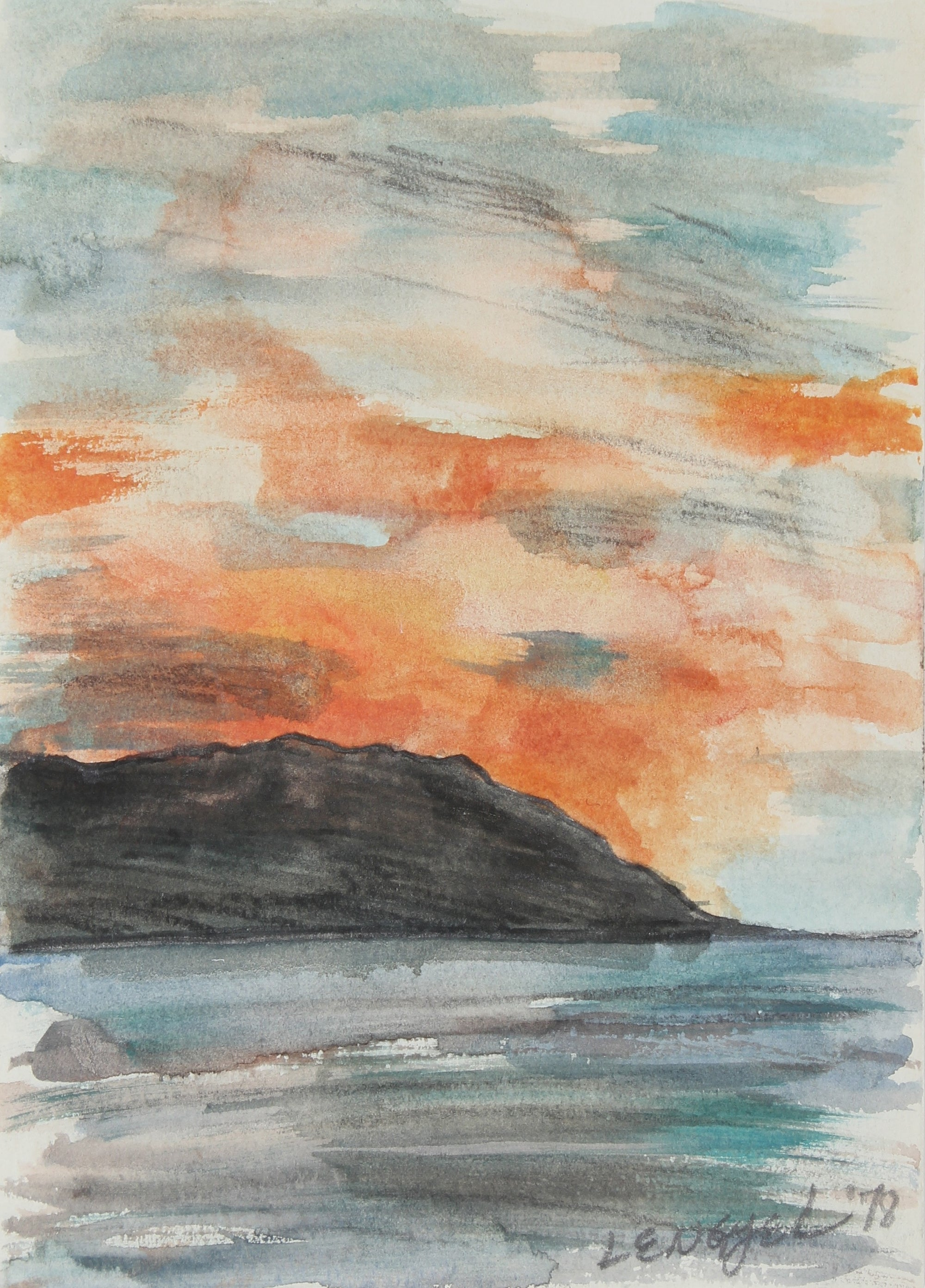 Abstracted Cabo San Lucas Sunset<br>1978 Watercolor & Graphite<br><br>#58610