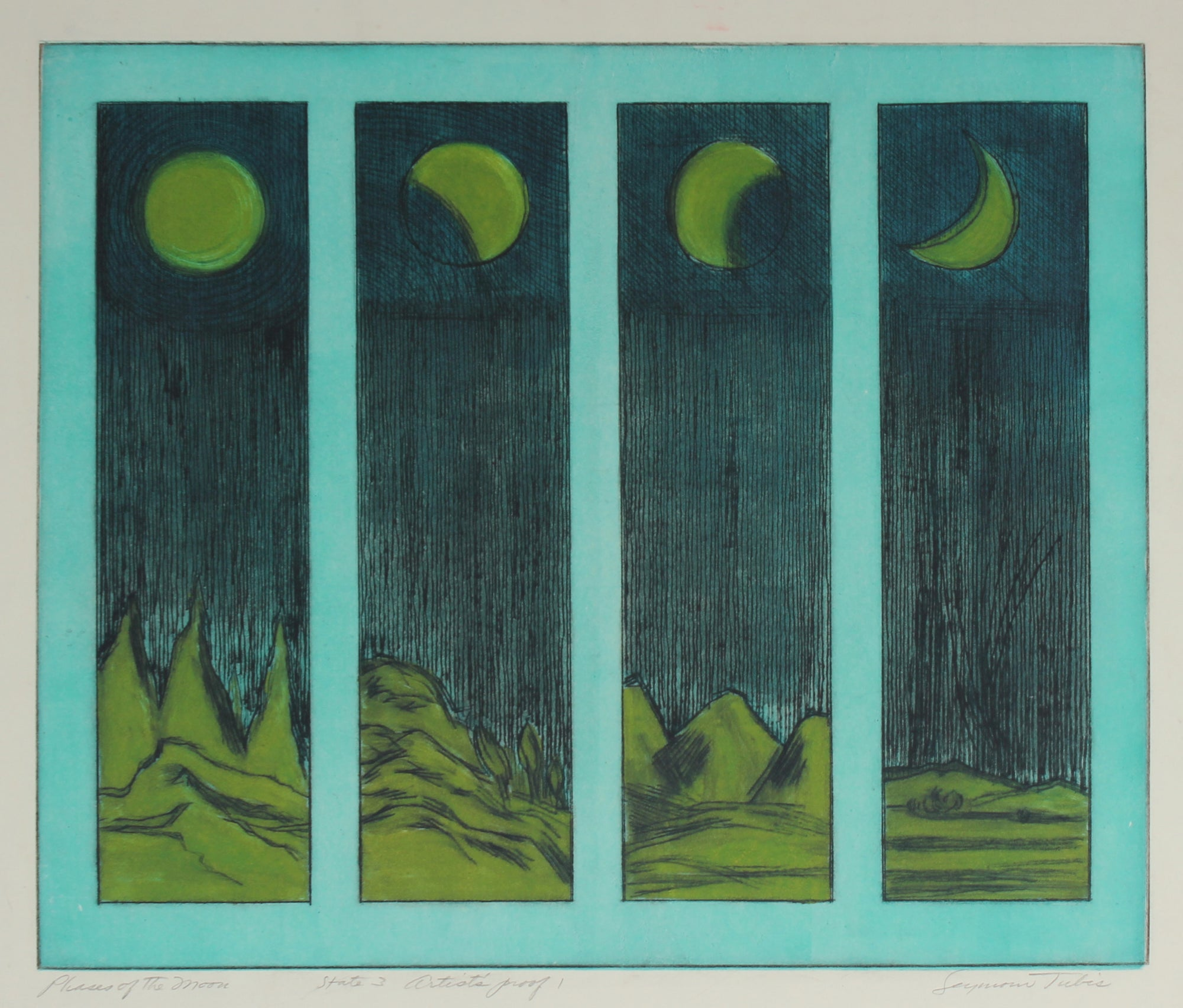 <i>Phases of the Moon</i> <br>Mid Century Colored Etching <br><br>#59168