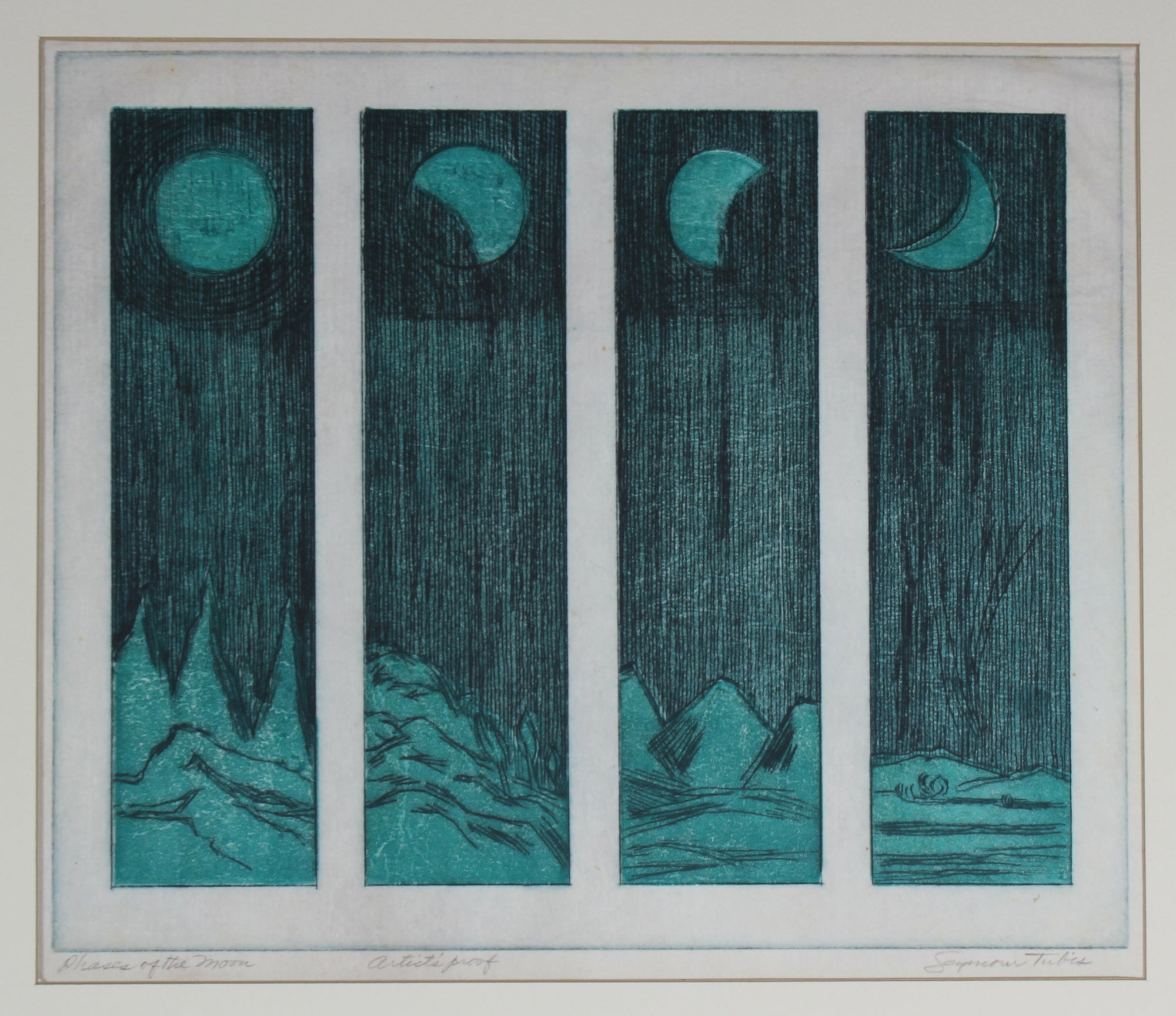 <i>Phases of the Moon</i><br>Mid Century Colored Etching<br><br>#59177