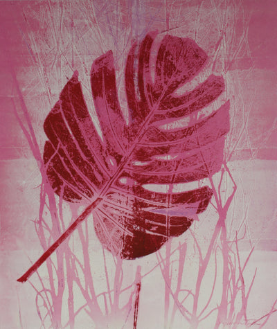<i>Pink Leaf - Nature Print</i><br>Mid Century Mixed Media Print<br><br>#59231