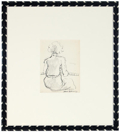 Contemplative Seated Figure<br>Ink, Mid Century<br><br>#58049