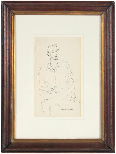 Seated Figure<br>Mid Century Drawing<br><br>#58035