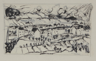 Abstracted Secessionist Landscape<br>1920s Ink & Graphite<br><br>#60101