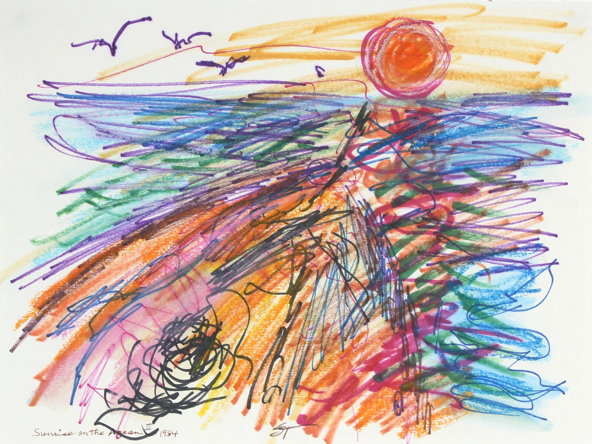 <i>Sunrise of the Agean II</i> <br>1984 Ink and Pastel <br><br>#60363