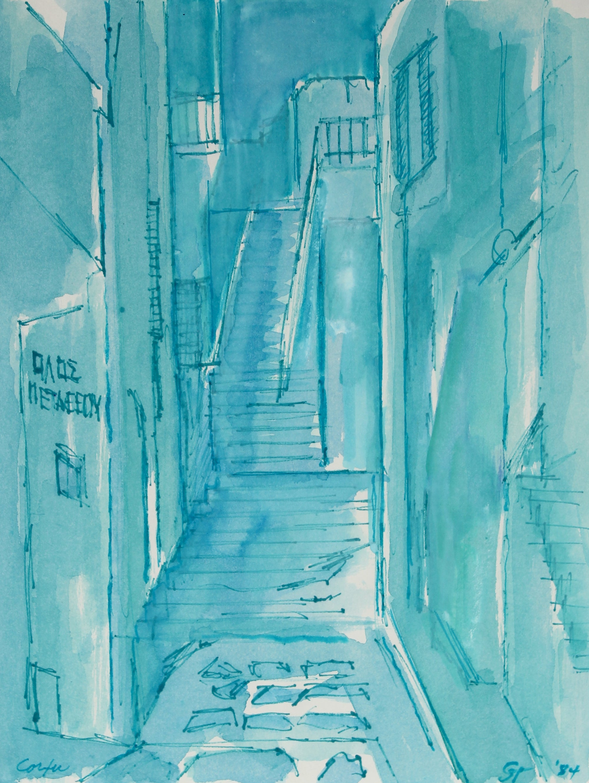 <i>Street in Corfu</i> <br>1984 Ink on Paper in Blue <br><br>#60933