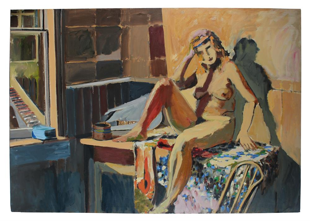 Modernist Nude in Bed<br> Mid Century Oil<br><br>#96117