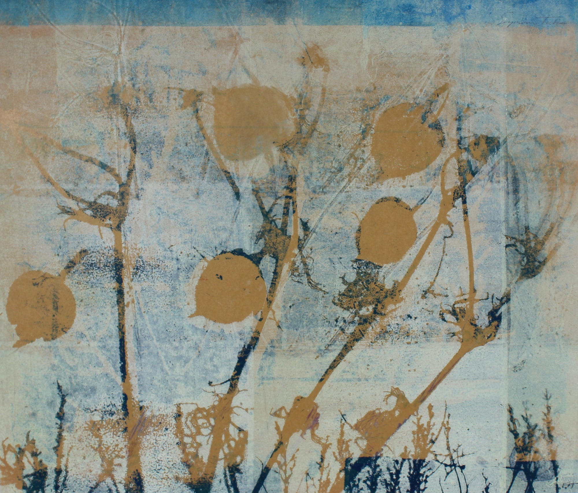 <i>Frost</i> <br>Mid Century Monotype and Relief Print on Paper <br><br>#61290