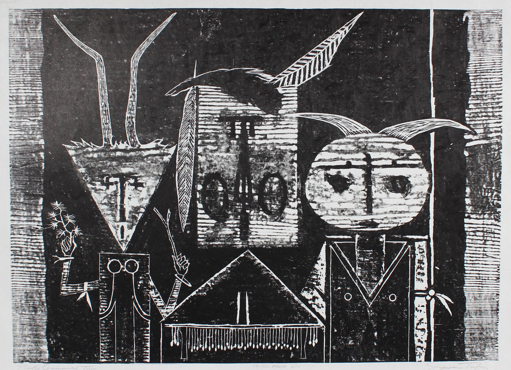 <i>Pueblo Ceremonial Trio</i><br>1968 Etching<br><br>#61553