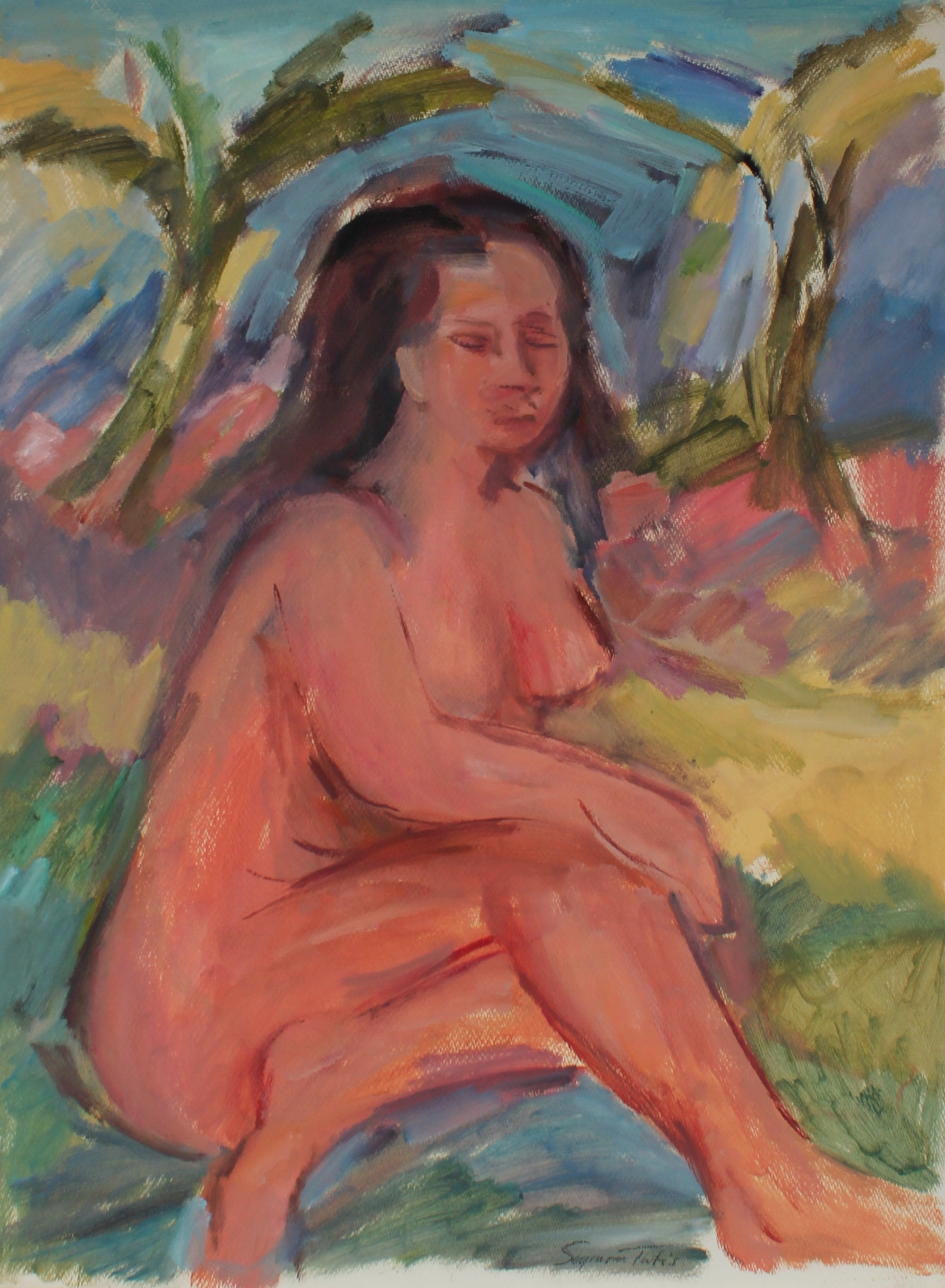 Warm Expressionist Nude<br>Oil on Paper<br><br>#61566