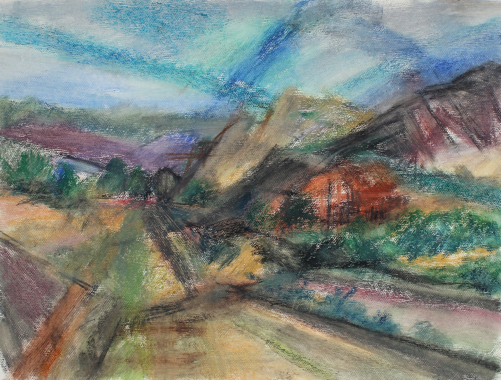 Expressionist Landscape <br>Mid-Late 20th Century Pastel <br><br>#62756
