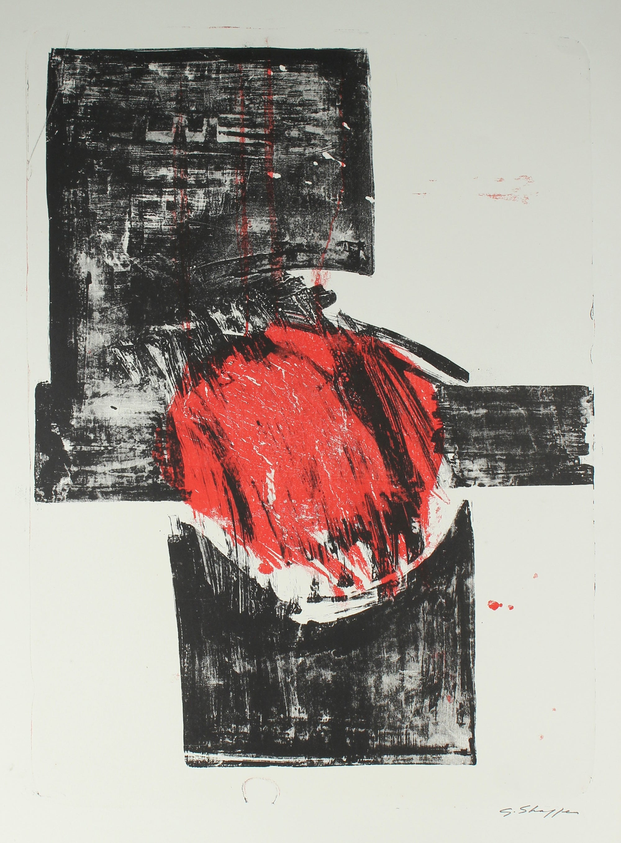 1965-66 Abstract Expressionist Red & Black Stone Lithograph <br><br>#6369