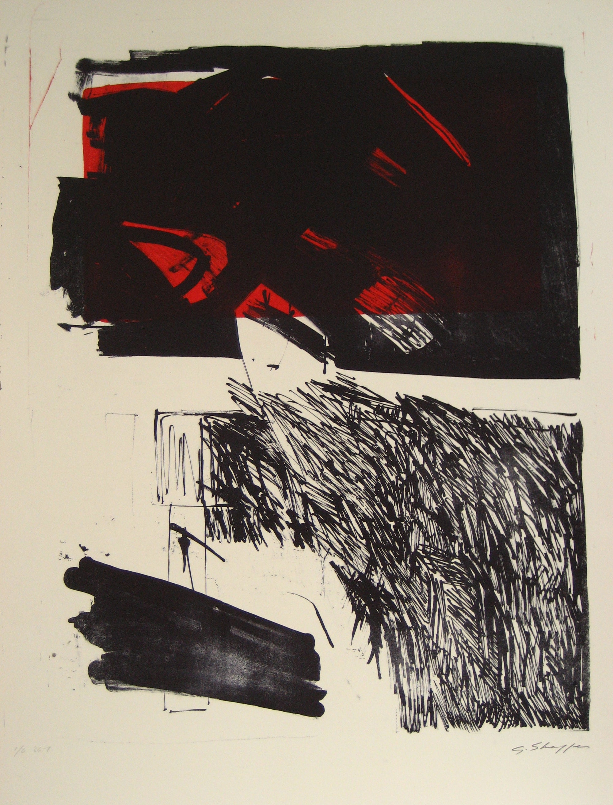 Dark Abstract Expressionist <br>1967 Stone Lithograph <br><br>#6494